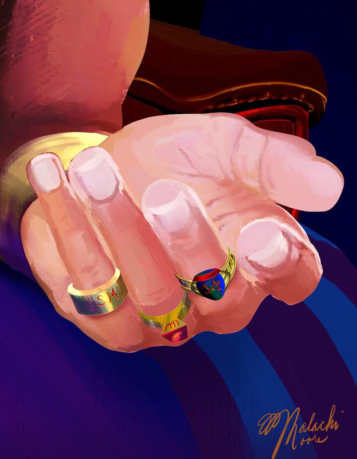 Ring detail - left hand