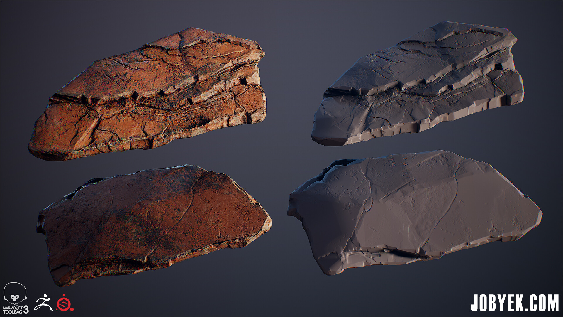 Final Textured Low Poly & Rock Sculpt
