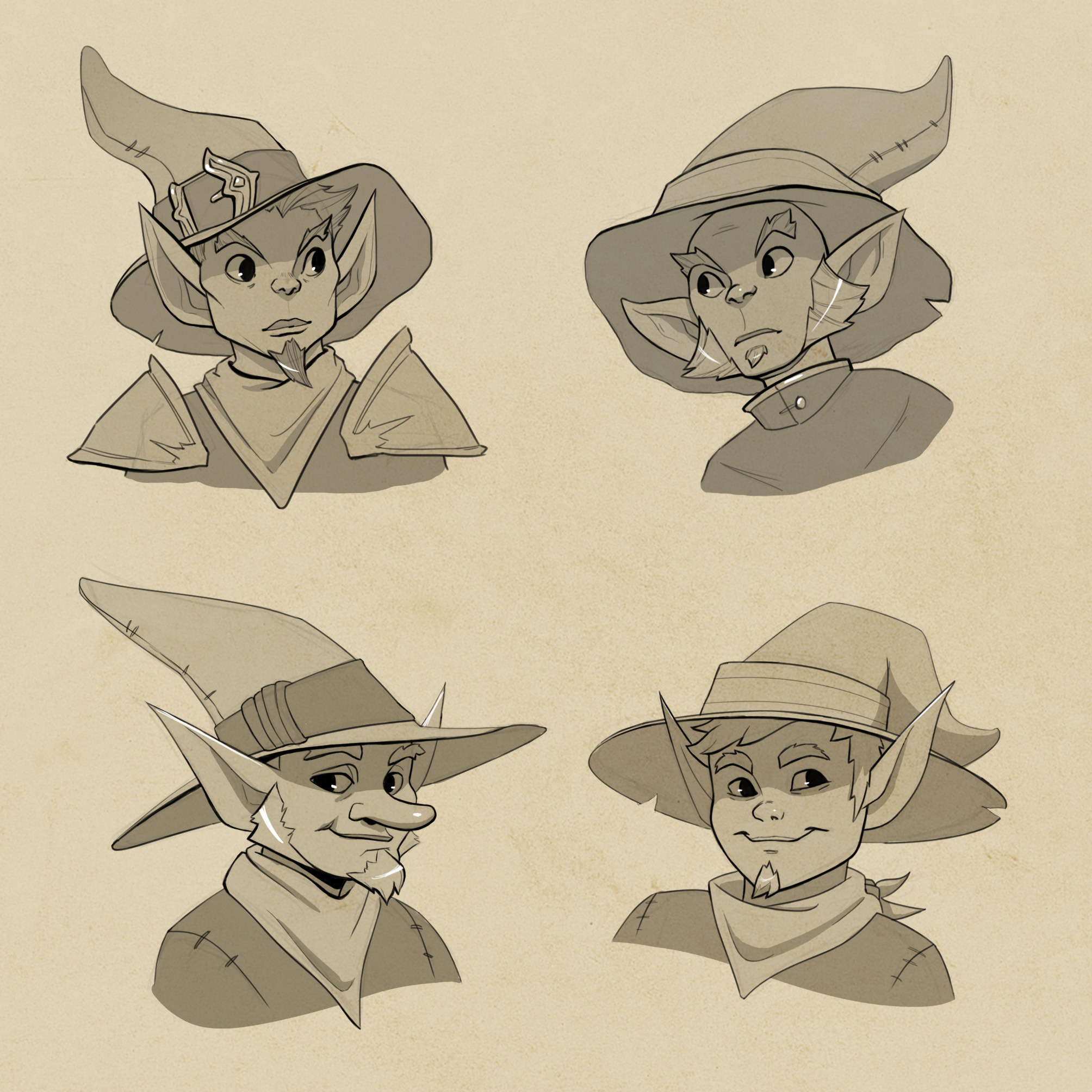 Concept thumbnails for Sir Van Terunt the gnome