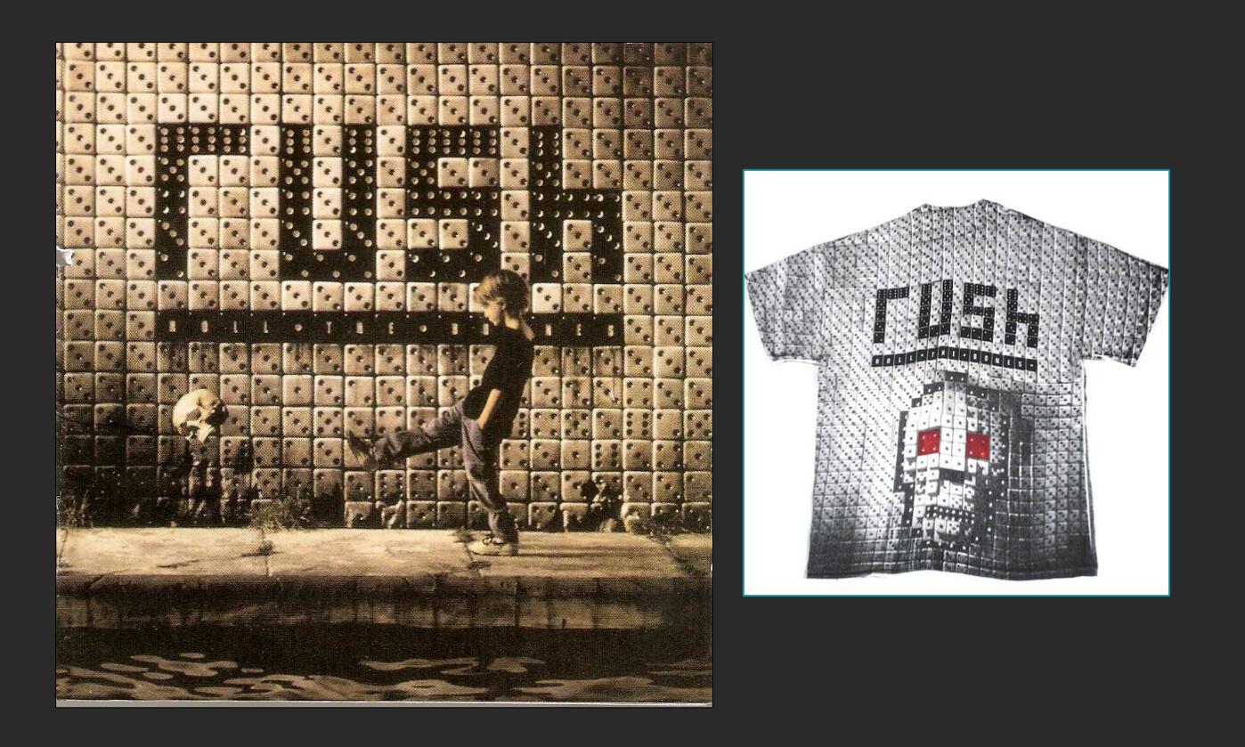 References: 'Roll the Bones' artwork & t-shirt.