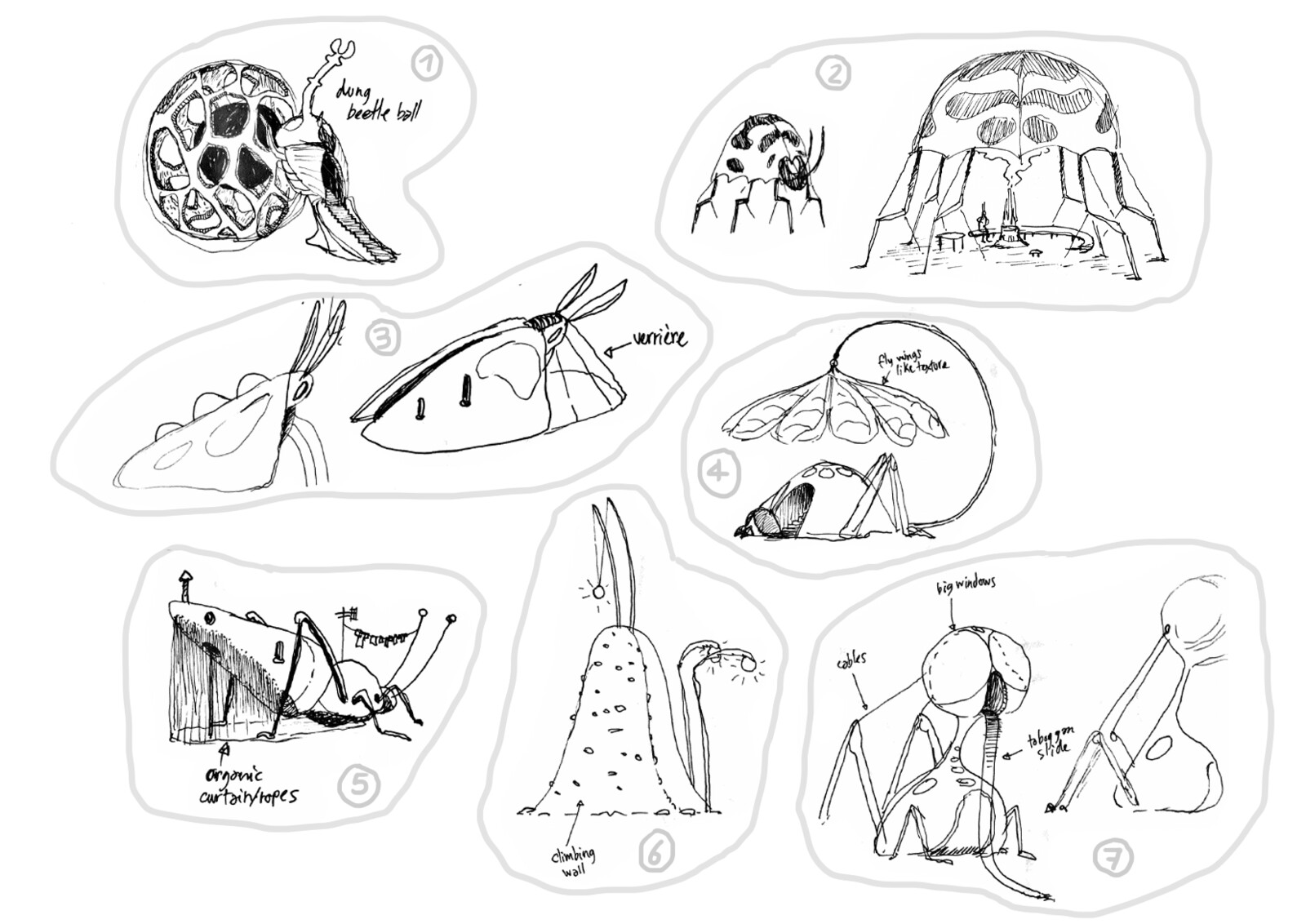 Insect-themed architecture sketched, destined to an environment concept artist.