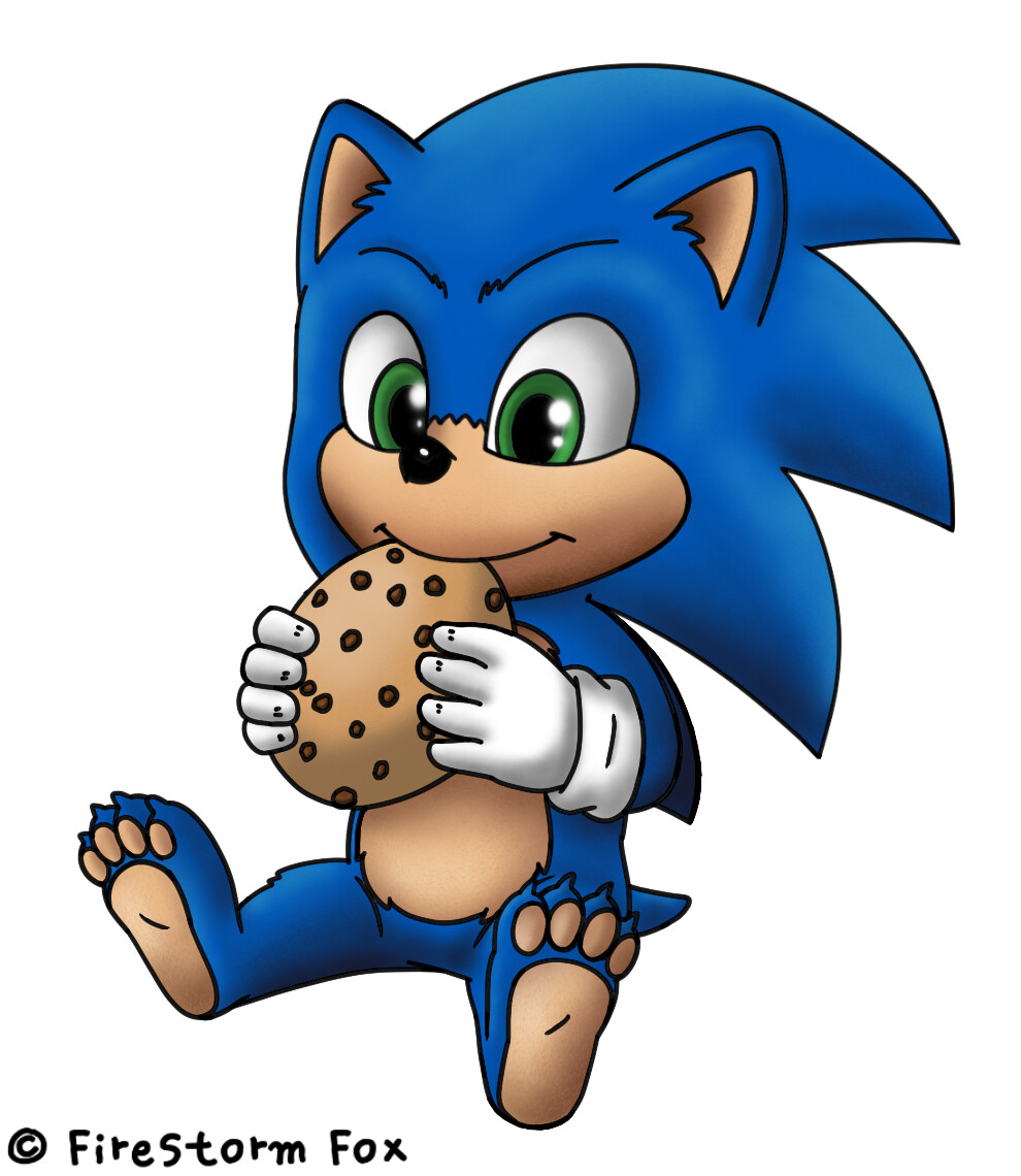 Baby Sonic Eating Cookie