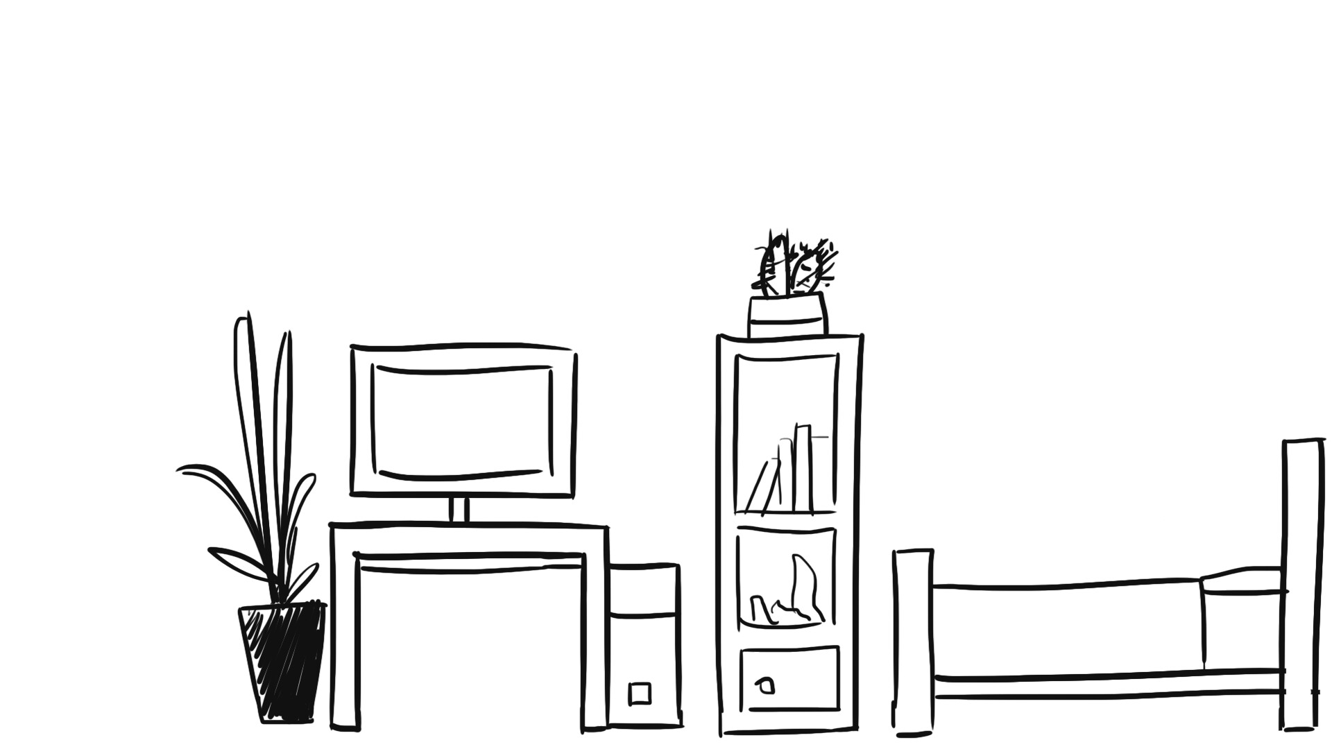 Rough sketch of Green's apartment furniture