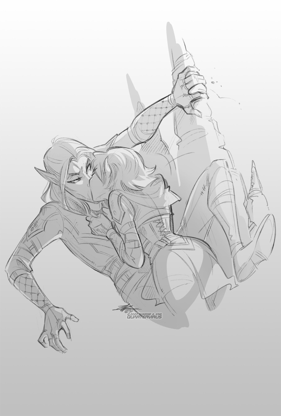There are two ways Cassica can steal kisses from Aezar, one involves climbing him like a tree and the other a running start  One has a far more satisfying landing