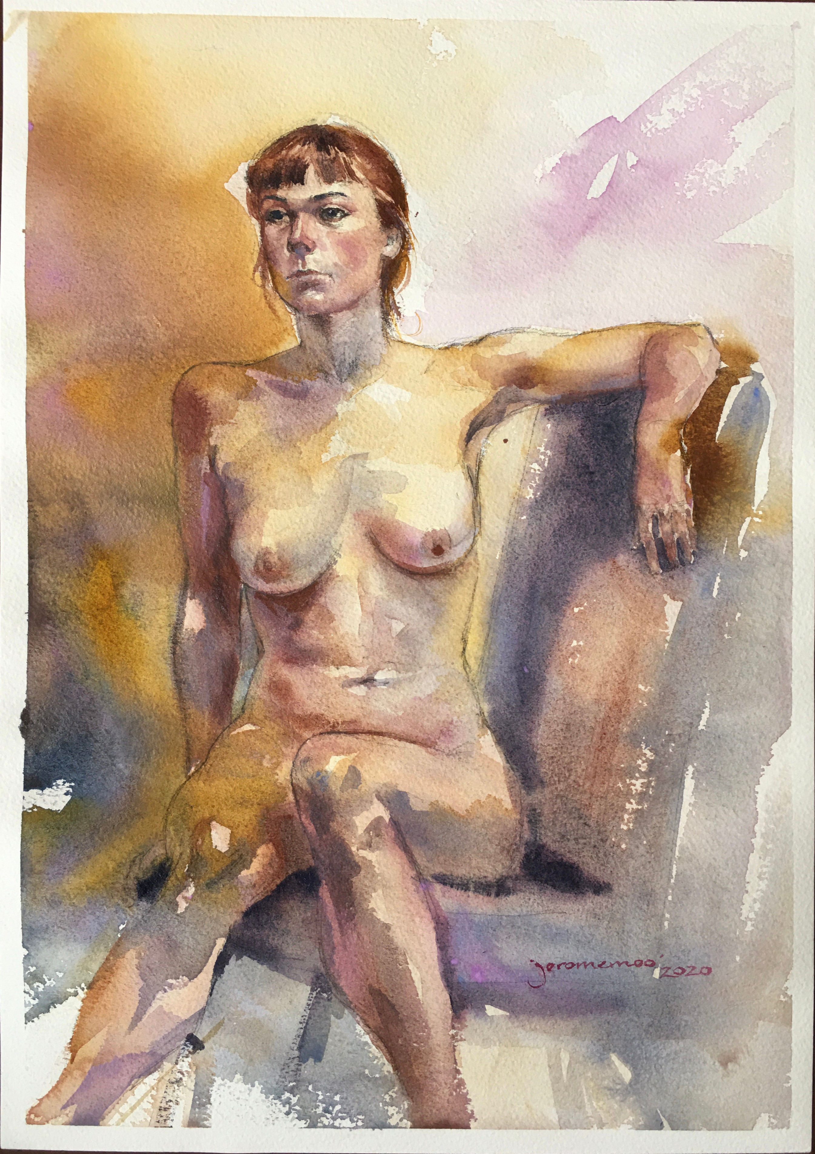 Long Pose Life Drawing of Abi  Watercolour on 42x29.7cm 300gsm Rough Arches Watercolour Paper