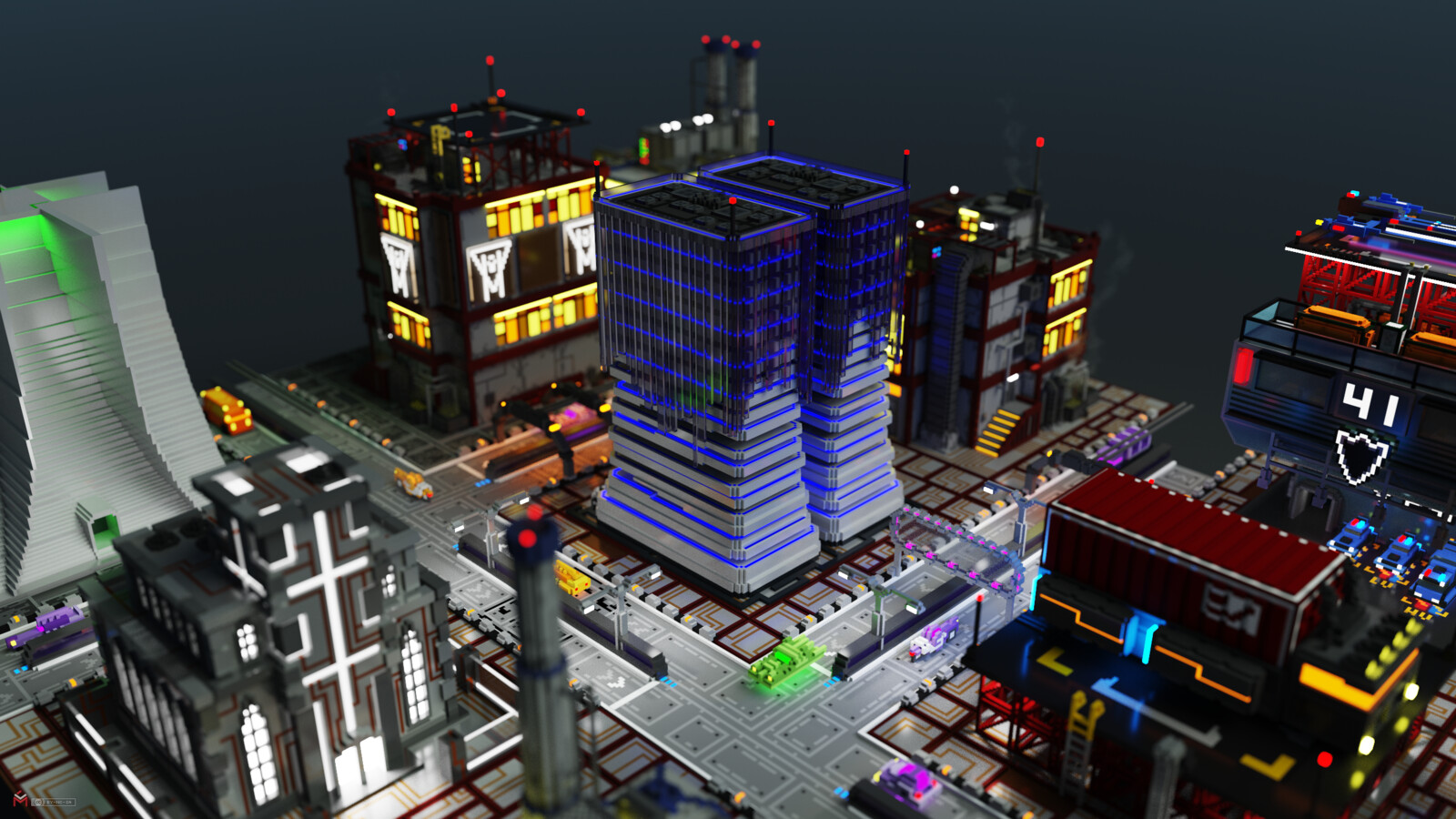"""""""MCP Relay"""" among additional models by Muerto_ni, StarVox and Starvick, licensed under CC BY-NC-SA 4.0 MagicaVoxel render - february 2020"""