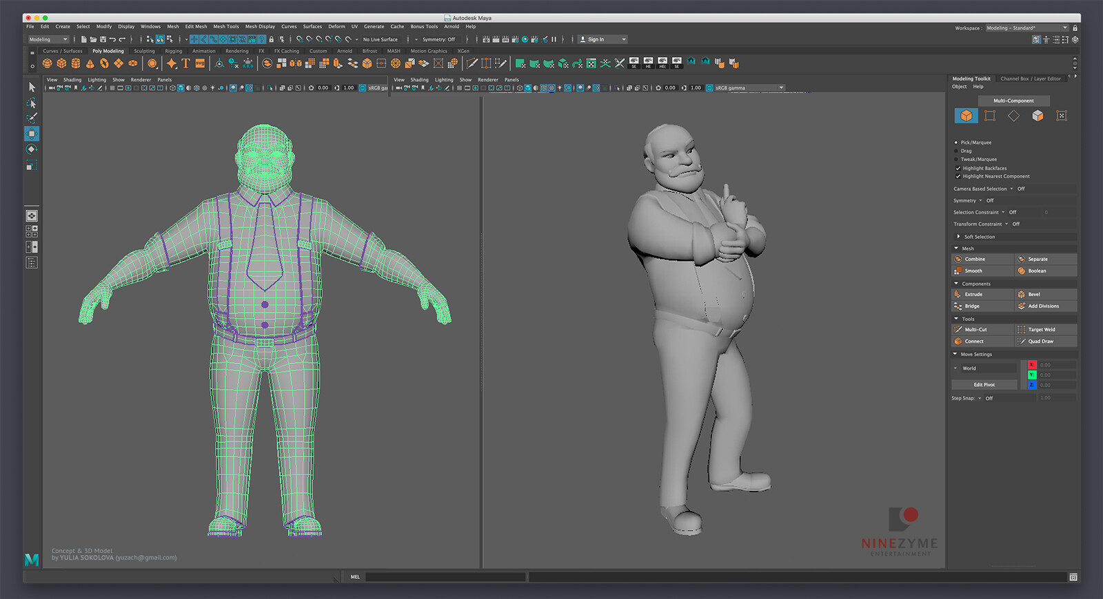 Retopo & UVs in Autodesk Maya. I also used Maya along with some plugins to rig and pose the character