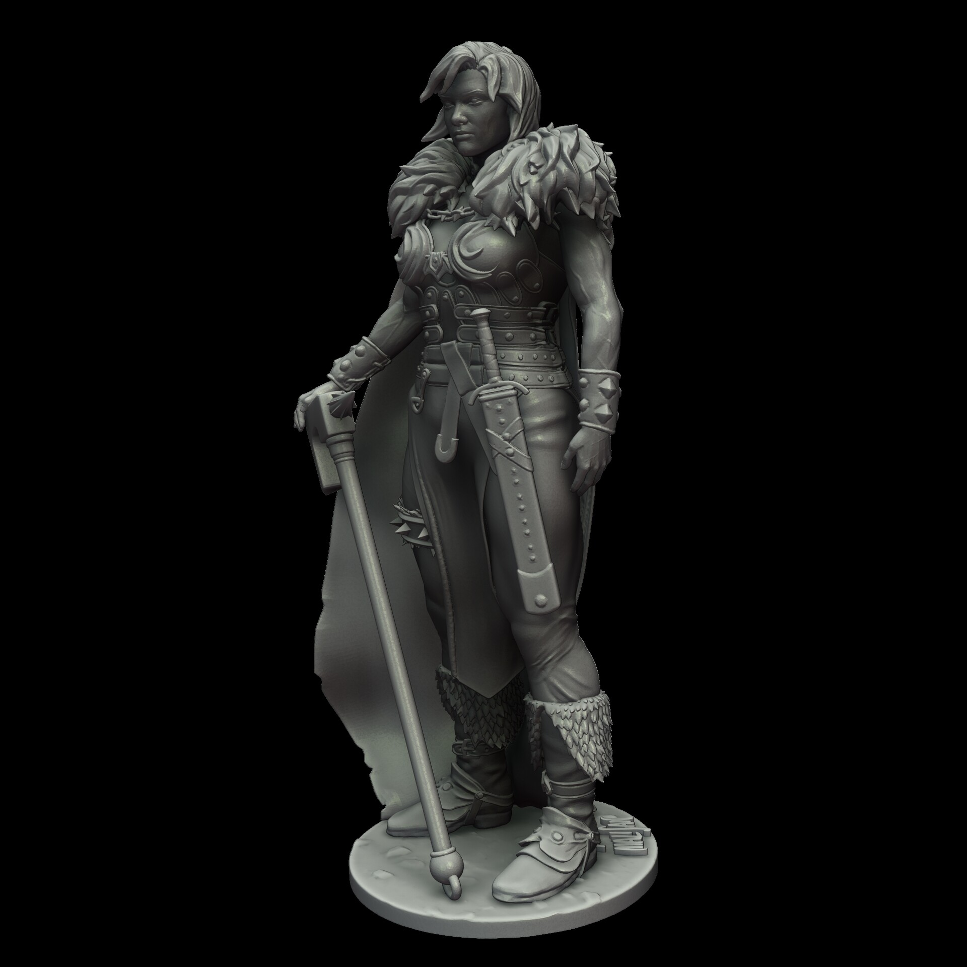 Clay render of the character ready for 3D printing (ZBrush)