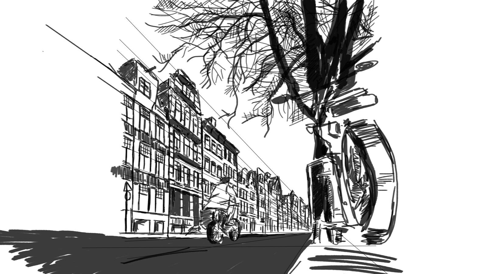 street sketch, perspective practice