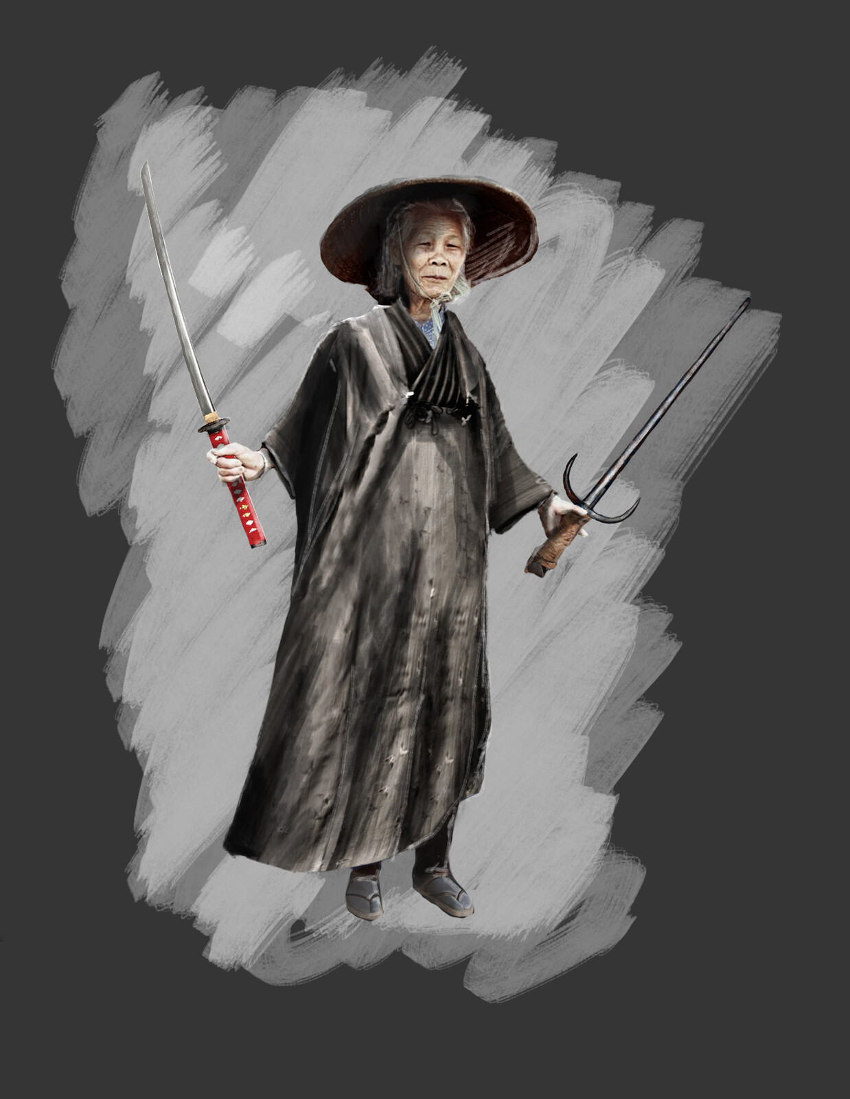 character drawing task, elderly warrior woman.