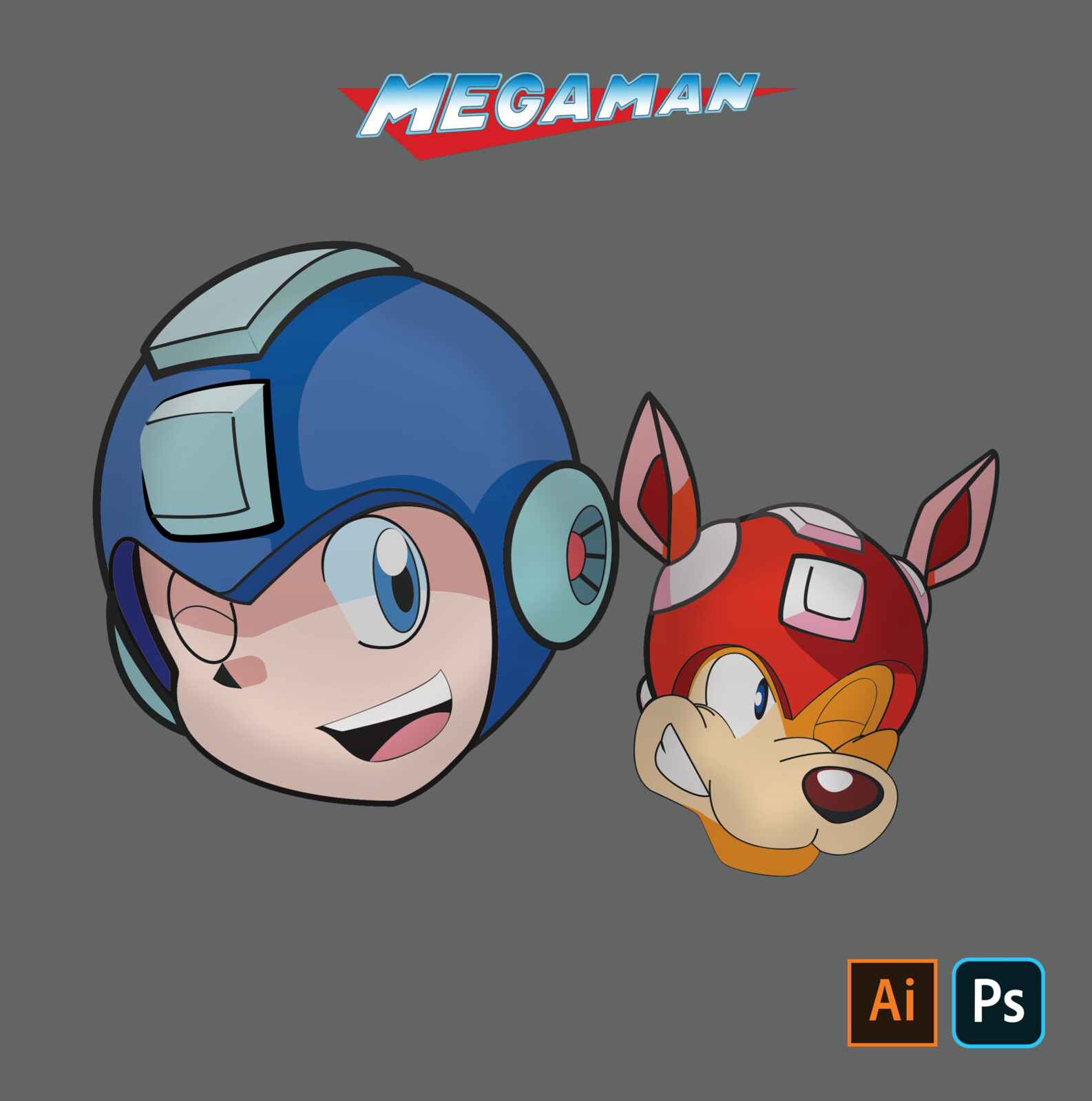 Mega Man and Rush Fanart