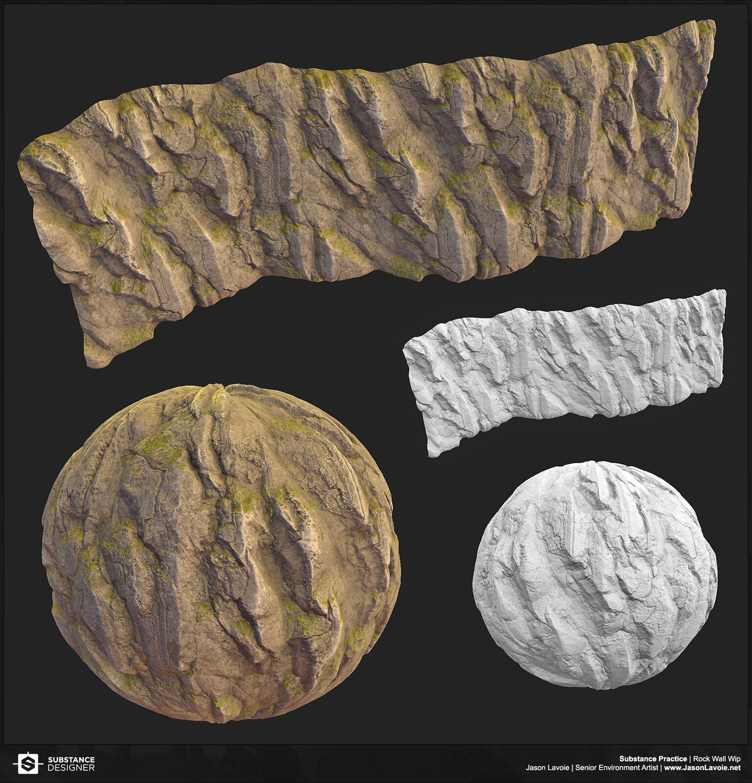 Testing out a new Substance workflow for Rock Tileables (first test)