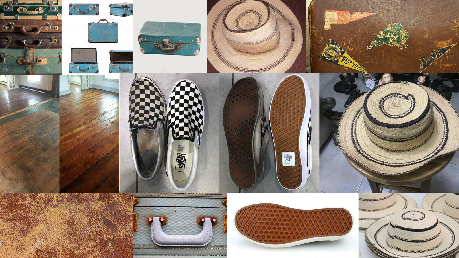 References used for both new and worn: leather handles, suitcase, hat, stickers, wood floor, slip on Vans.
