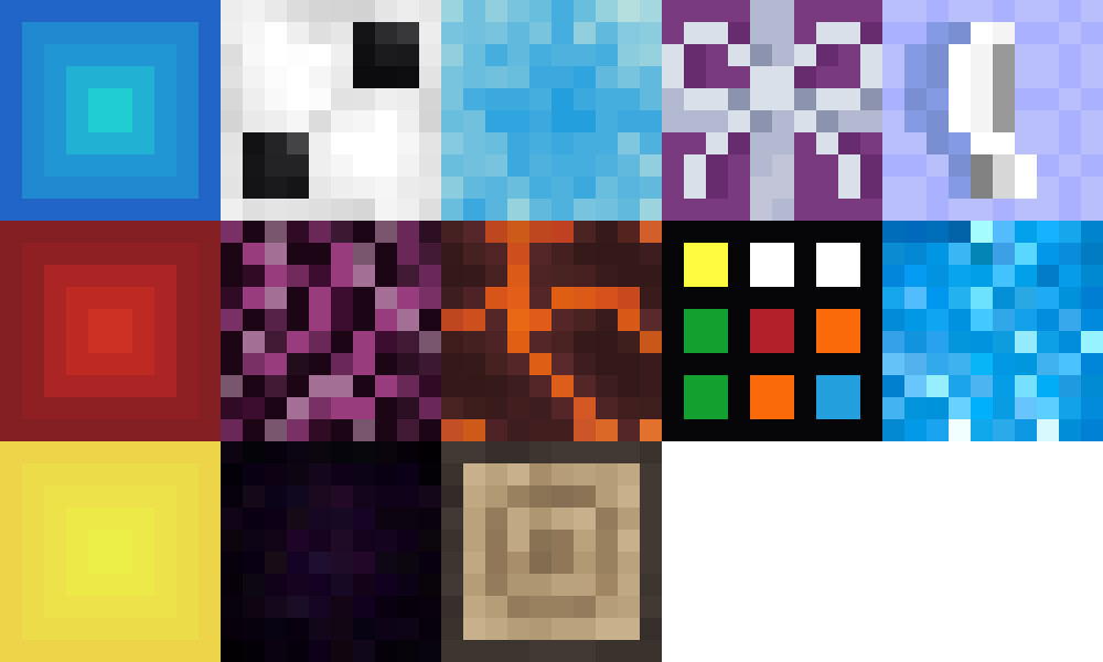 Sprite asset for each cube made so far for the game.