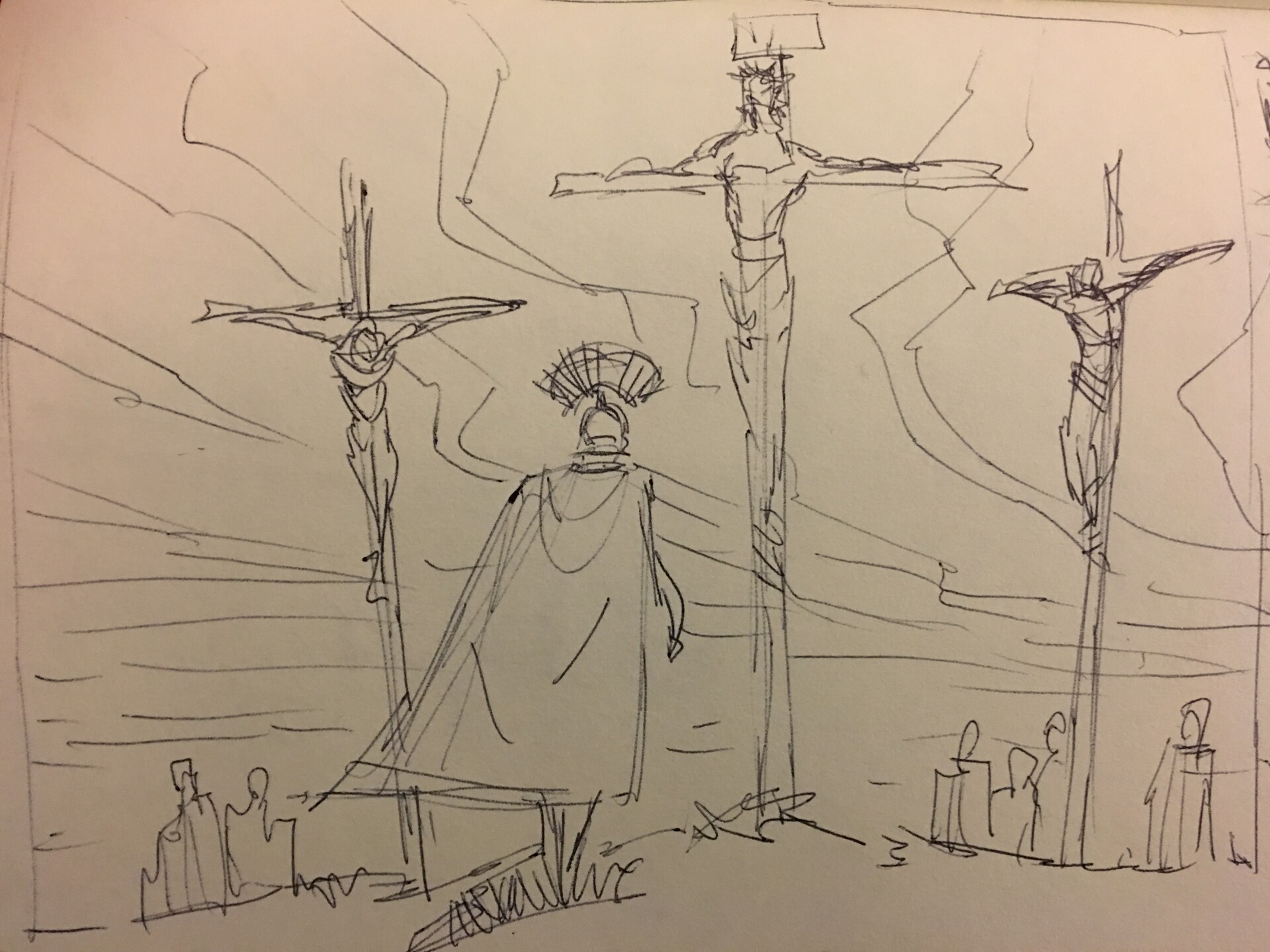 Original ballpoint pen sketch.