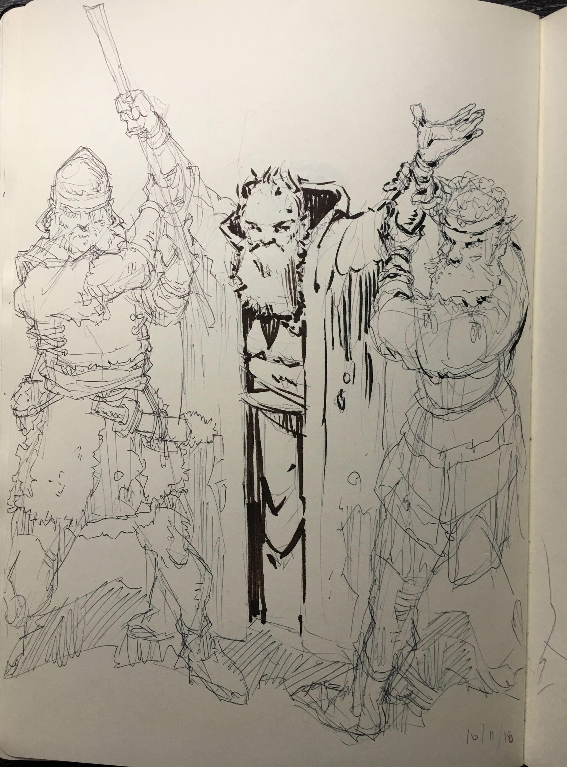 Original ballpoint pen and ink sketch.