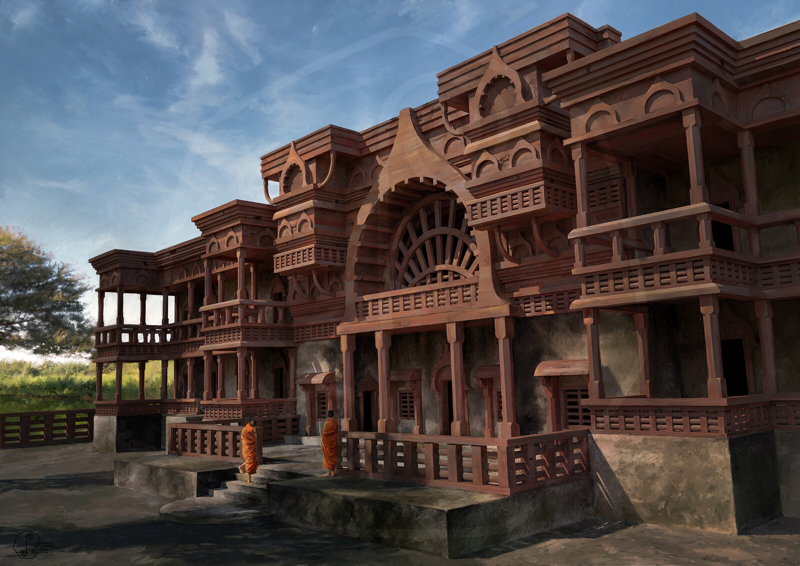 Hypothetical reconstruction of a wooden Buddhist temple