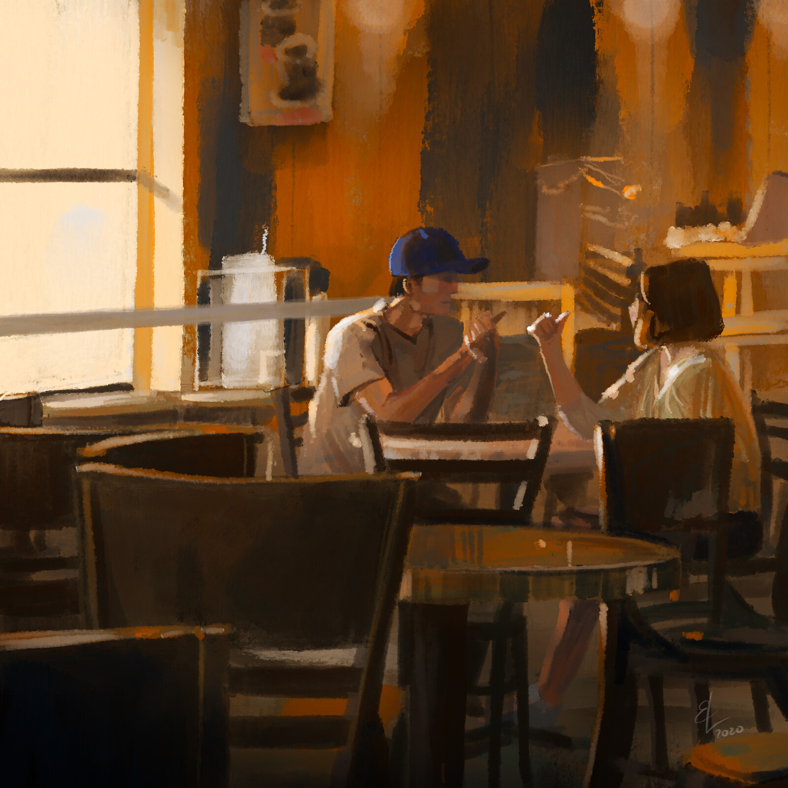 Couple At A Coffee Shop - Quick Sketch