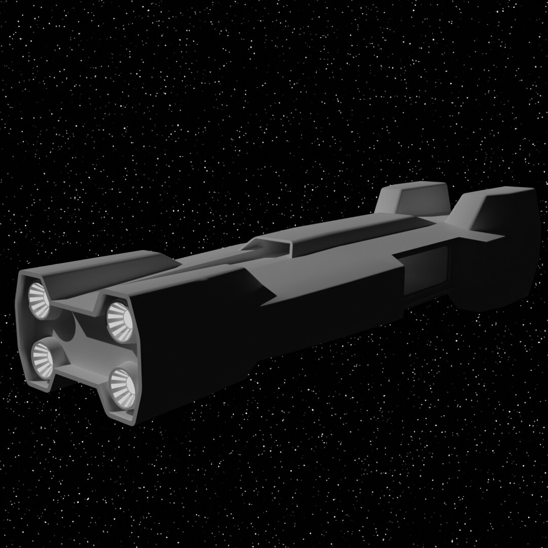 This was my original design for the carrier. I quickly realized how boring it looked and repurposed it as a wreck in the background.