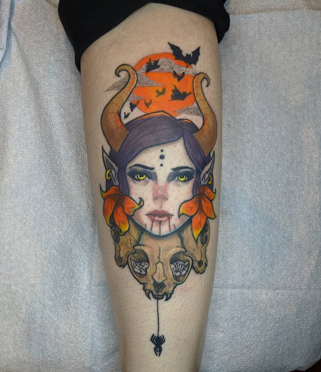 fall witch tattoo