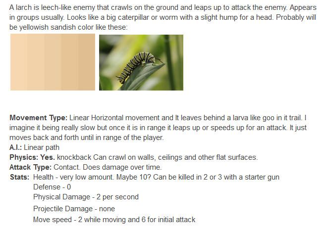Original design description I made for the larch.