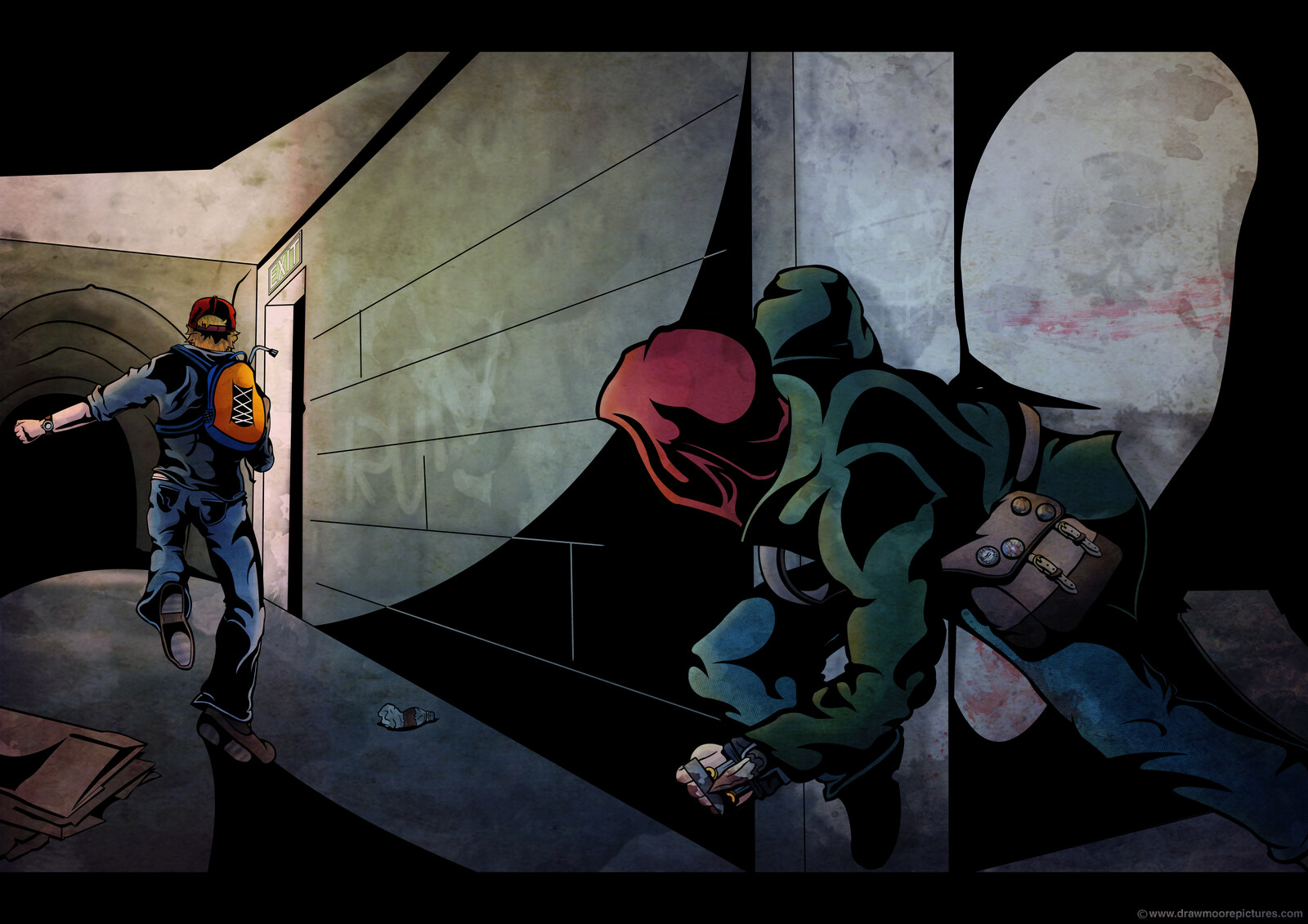 Action concept art where Tracey flees from an enemy in the dark tunnels under the city. One of the older pieces made. Tried to capture movement and speed, but perhaps at the cost of a moody and scary background?