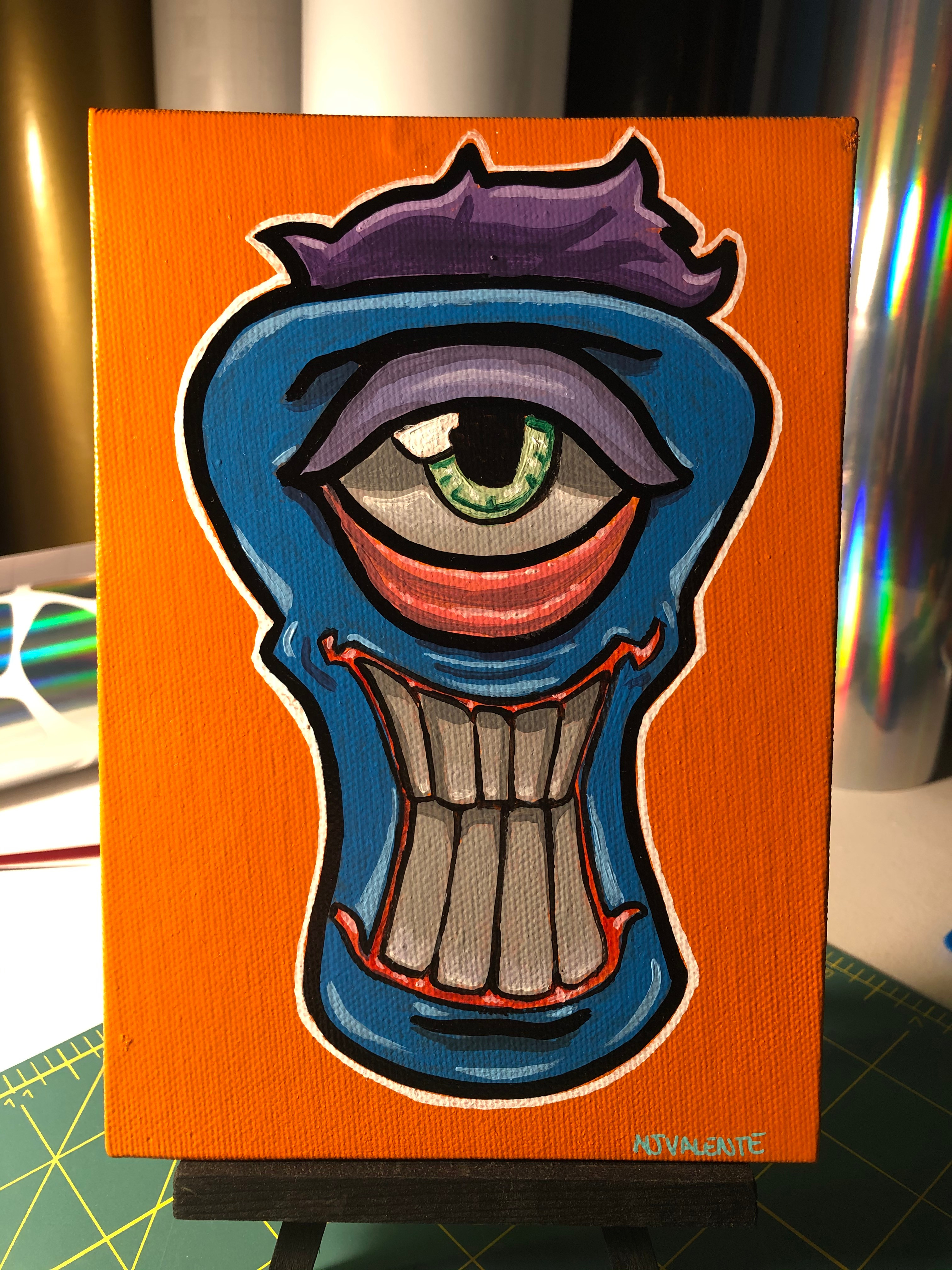 Blue funky face painting! 5x7 on canvas board.