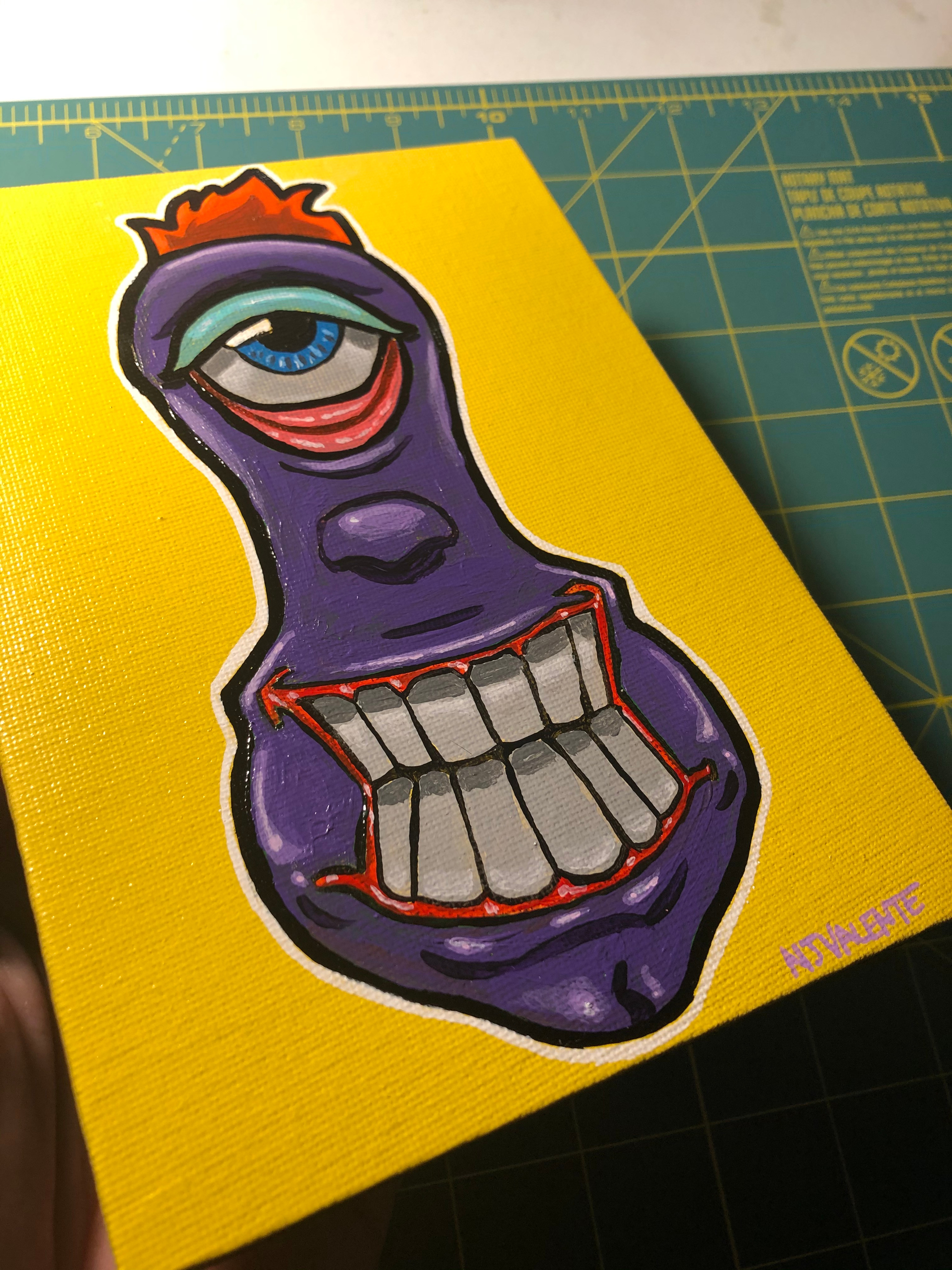 Purple Funky Face Eyeball painting, spray painted background. Character art don in acrylic paint.
