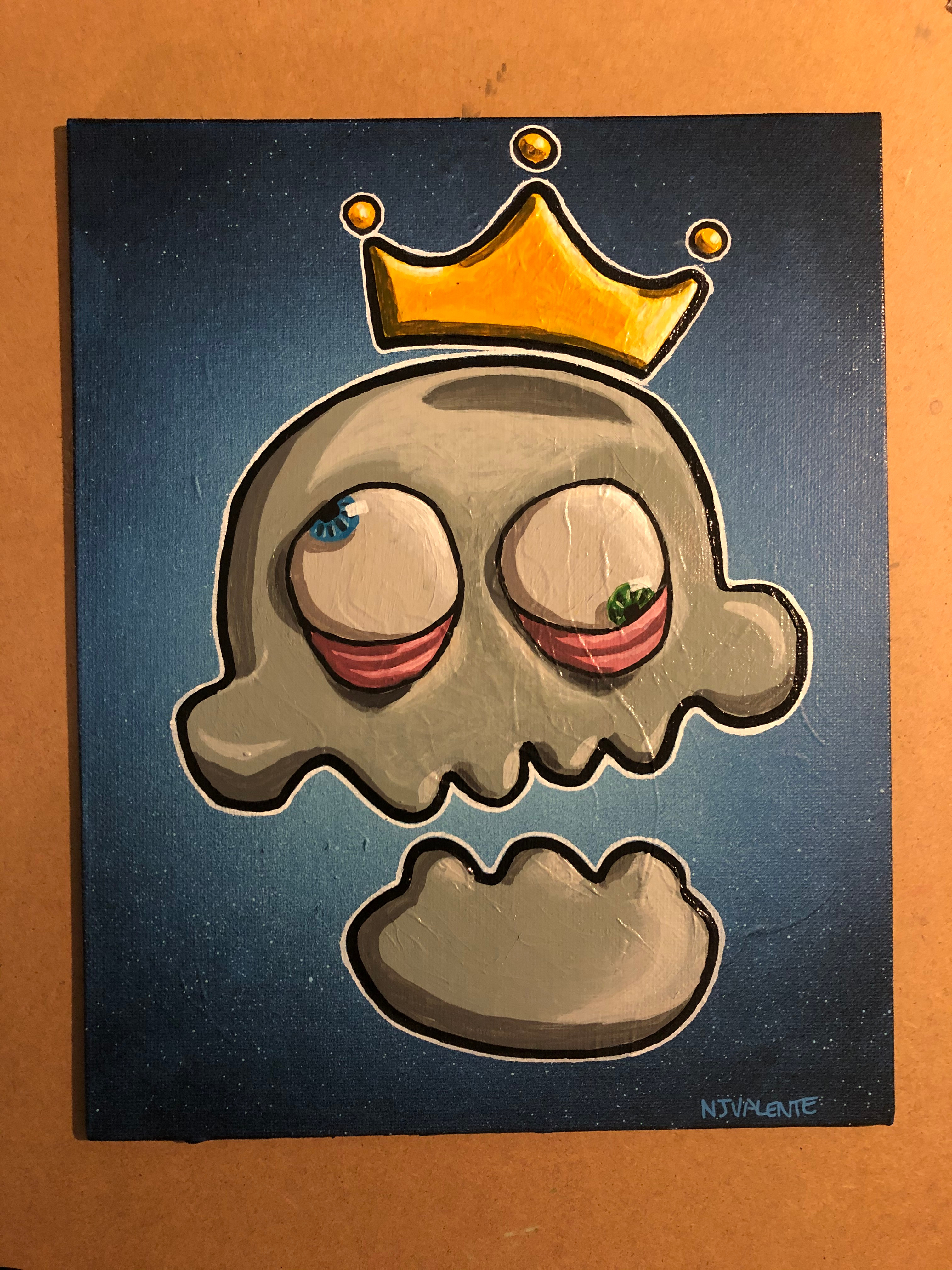 Skull and Crown. 8x10 canvas board.