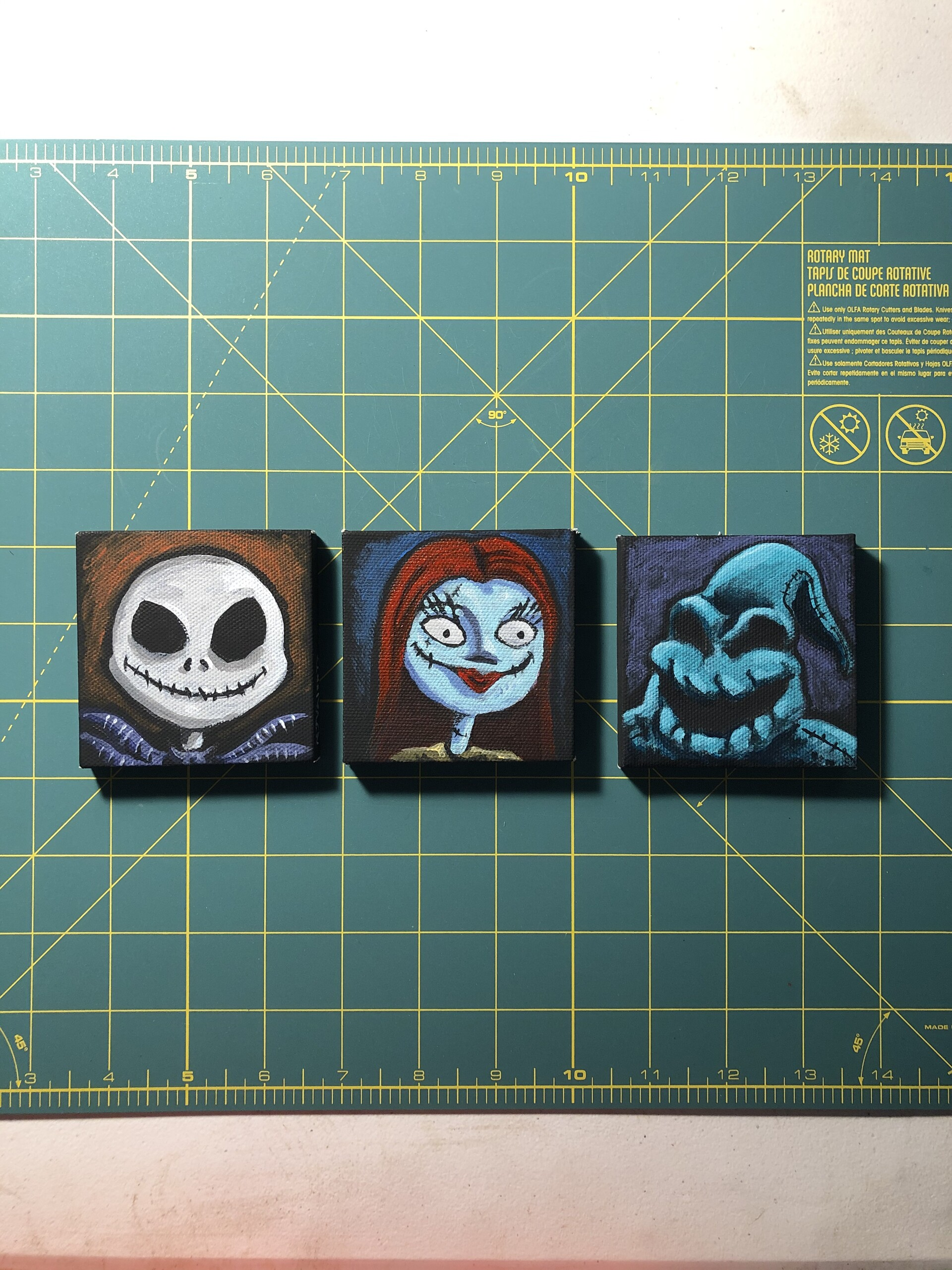 Nightmare Before Christmas, Jack, Sally and Oogie Boogie. Acrylic paintings on black mini canvas, 3x3 in.
