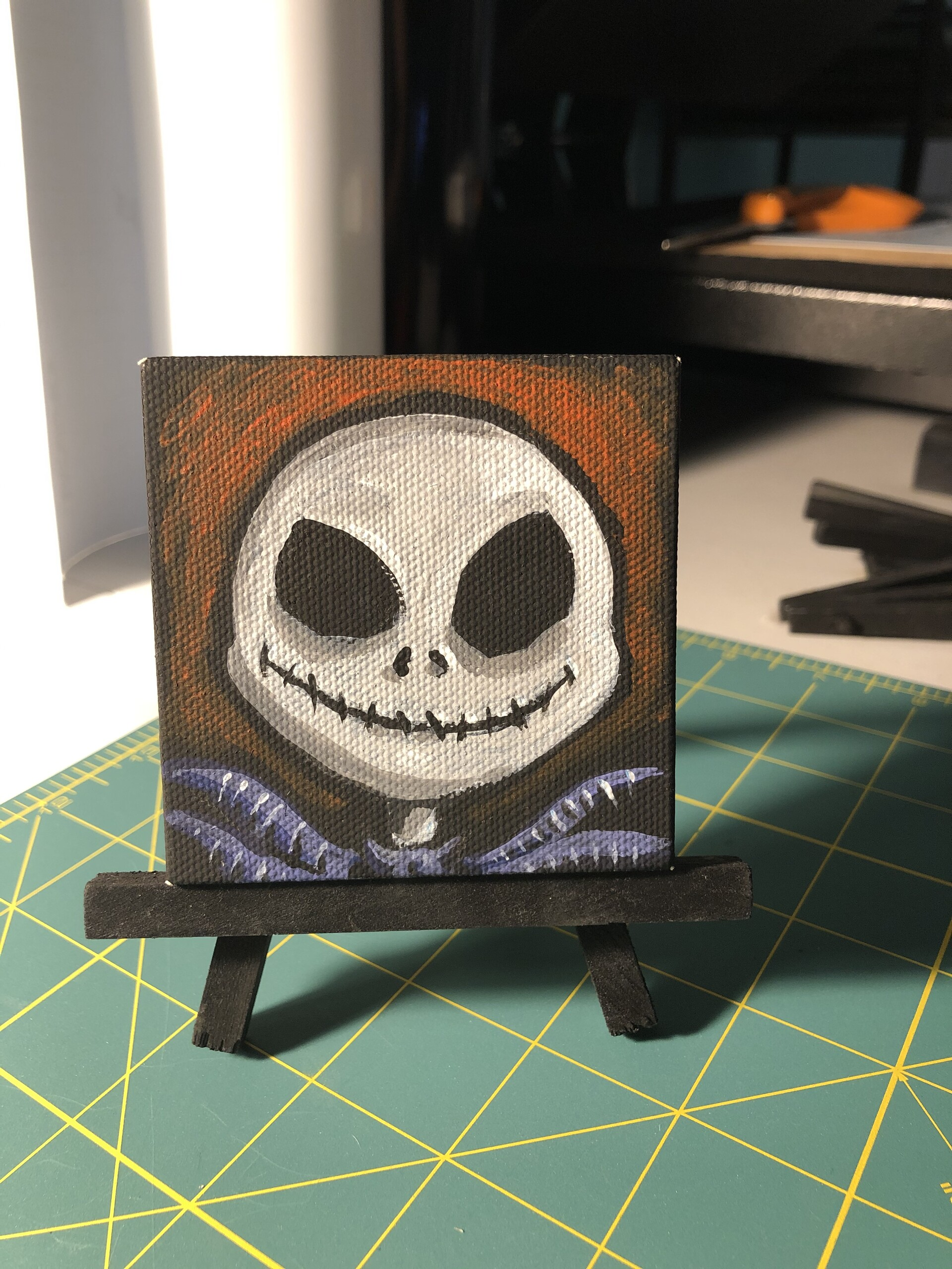Nightmare Before Christmas, Jack. Acrylic paintings on black mini canvas, 3x3 in.