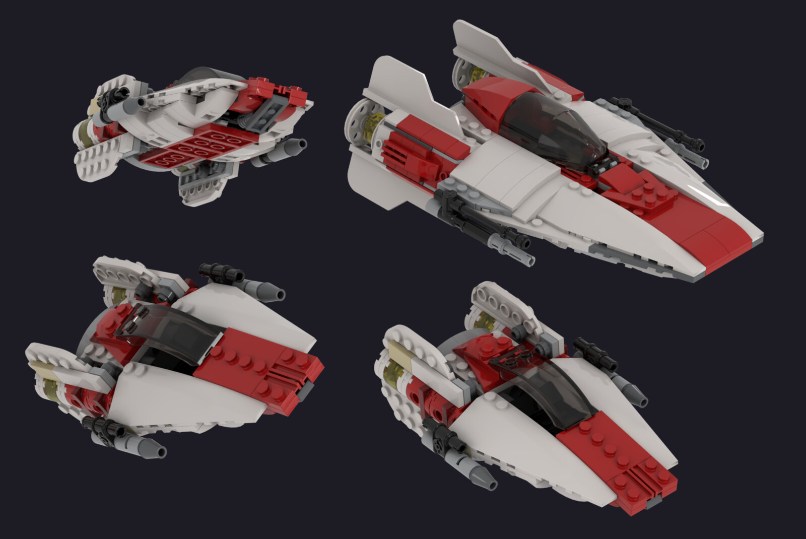 The big A-Wing in this render is an official LEGO design for comparison