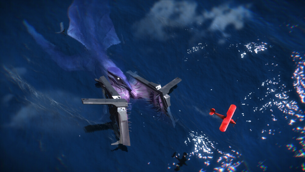 Player-character plane being hunted by sea monster