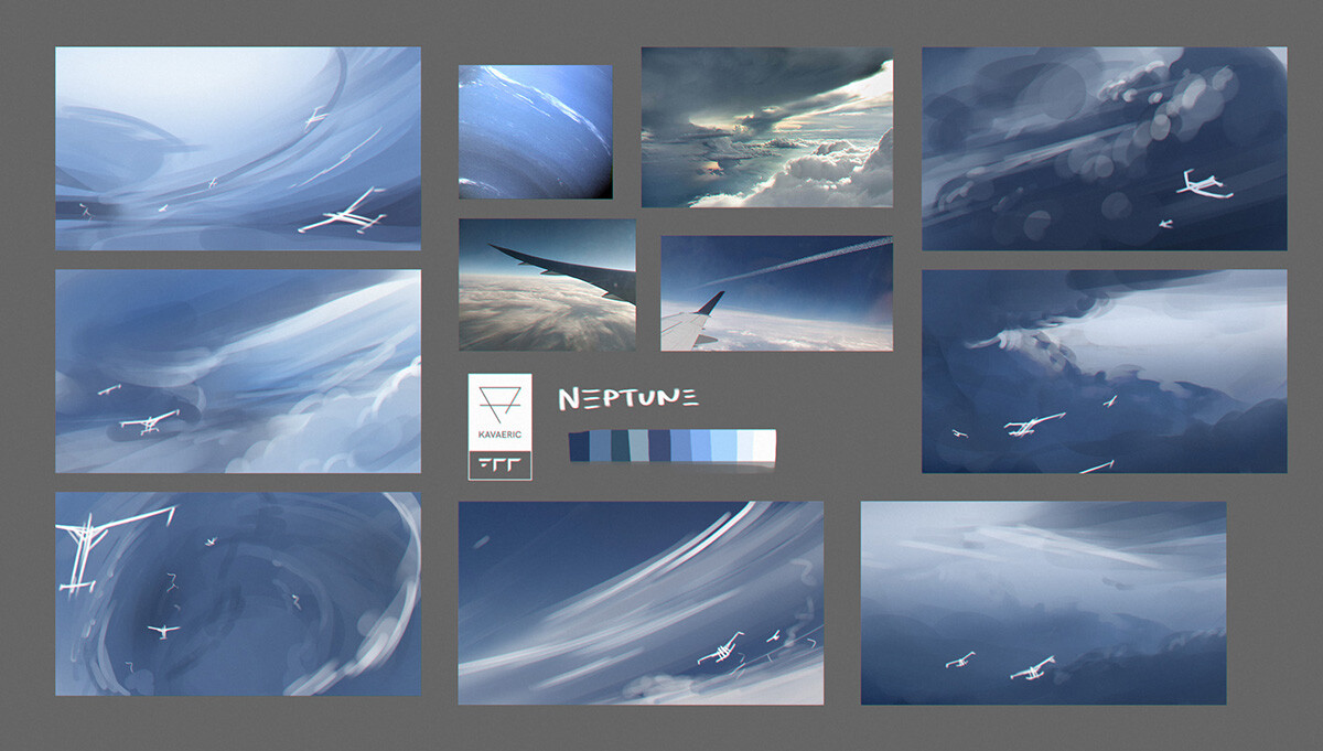 Exploration thumbnails for Neptune. Eventually I chose something akin to the one on the top-right, to communicate the scale of the gliders.