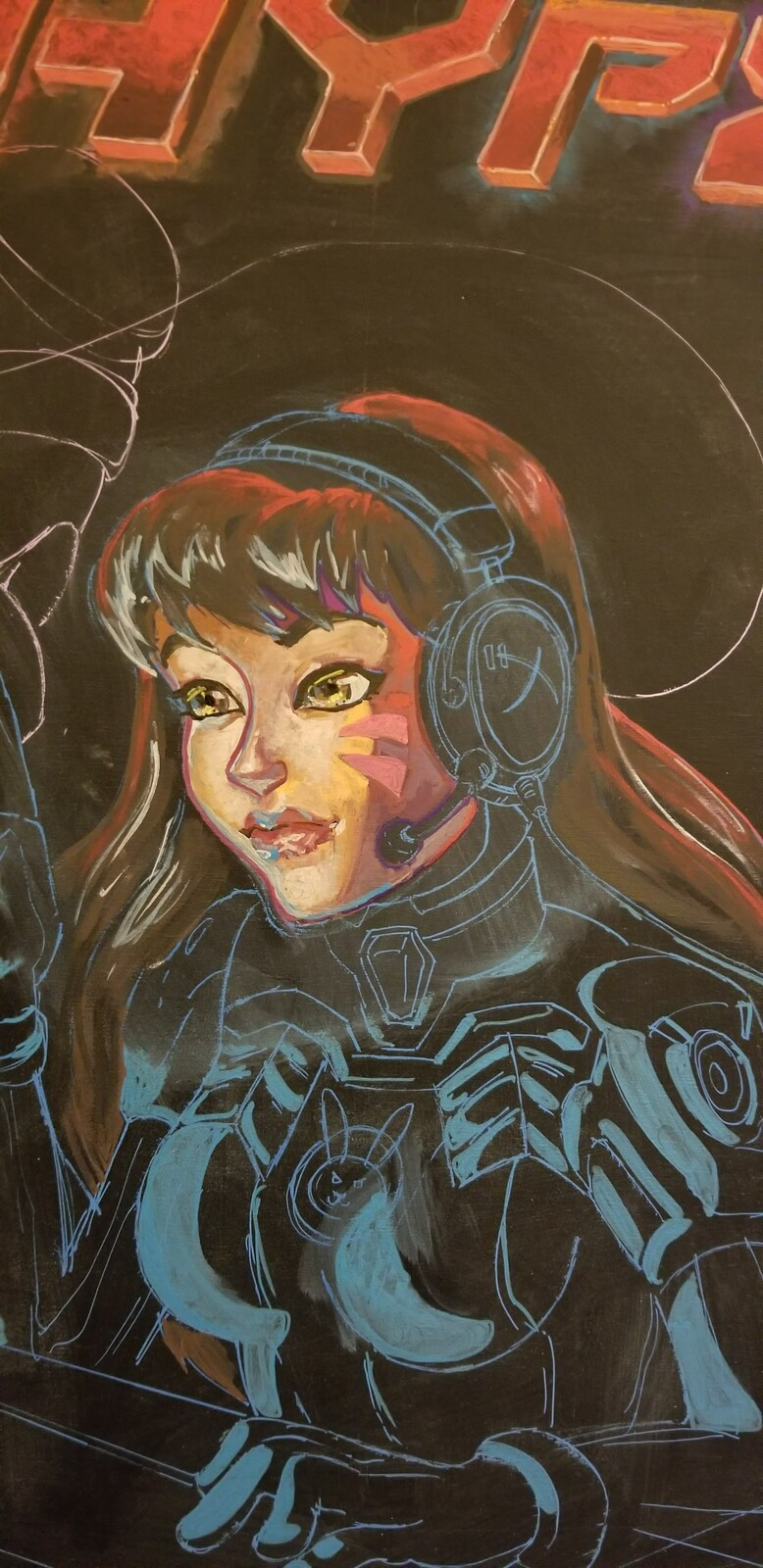 This was my practice D.Va, which I like so much more than my final D.Va, which I'm disappointed with. To be fair to I had more time to experiment and make corrections on my practice one. I had to resist making changes at the show and risk wasting time.