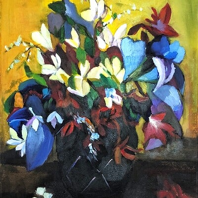 Oil Painting - Flowers and Vase