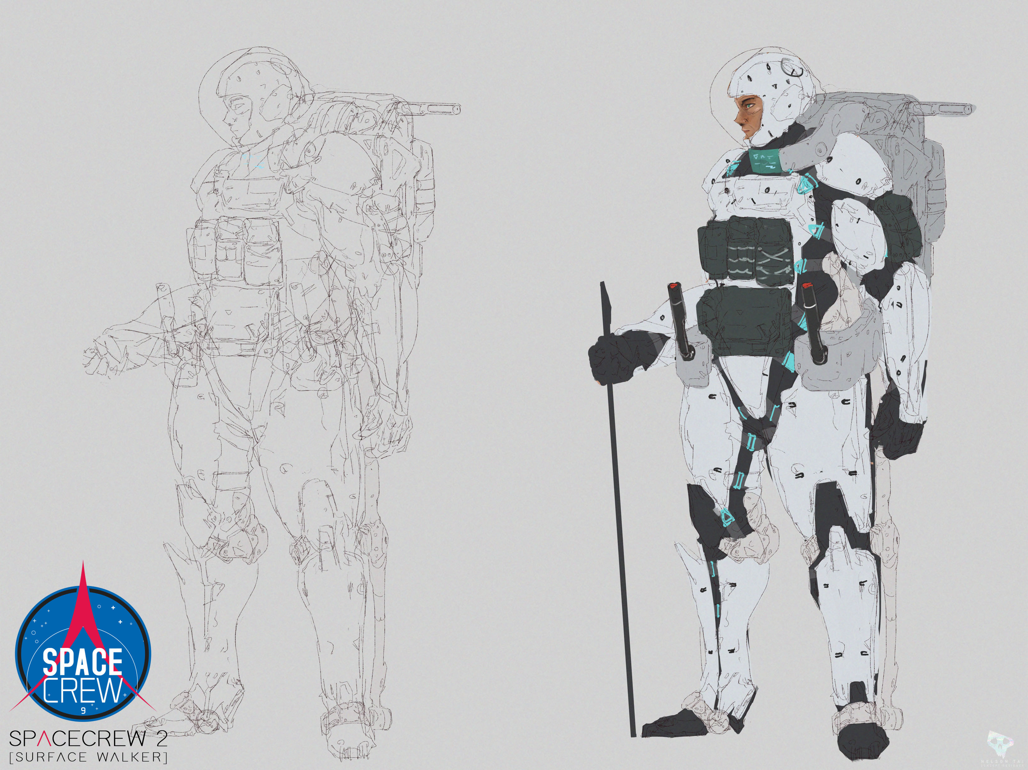 Initial sketch and color blocking. (1-2 hr to explore)