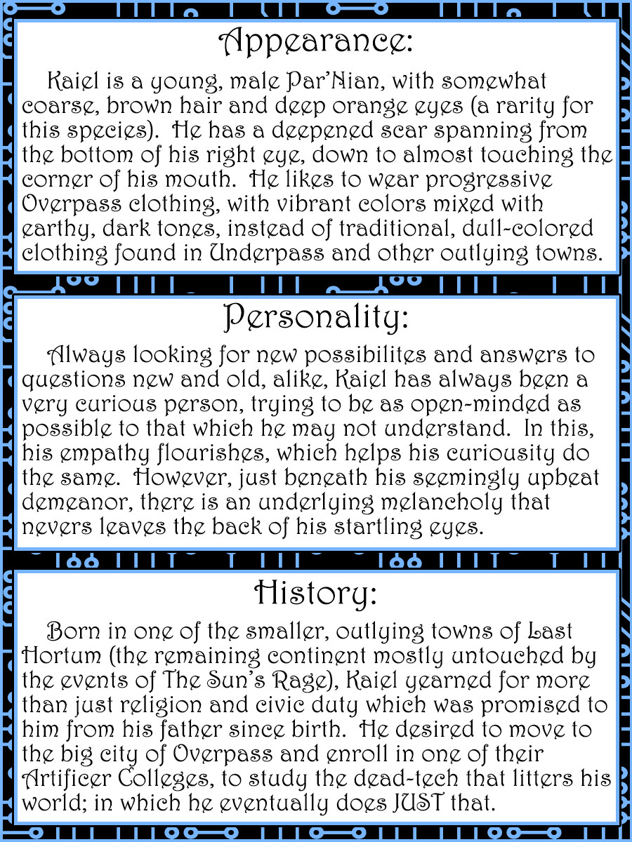 The story character card for Kaiel