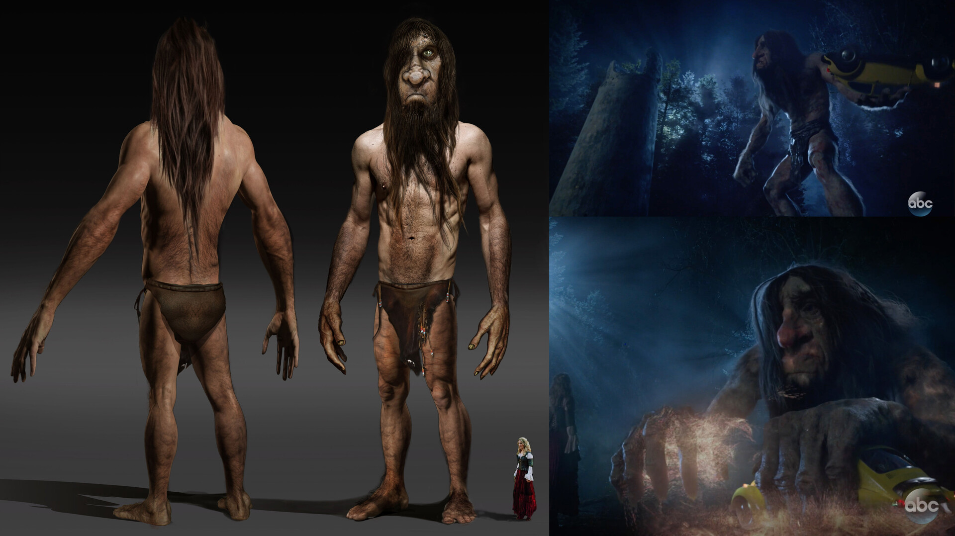 Troll Creature that was based on existing concrete Bridge Troll we built practically out of foam and which comes to life in Virtual Reality / Once Upon a Time Season 7