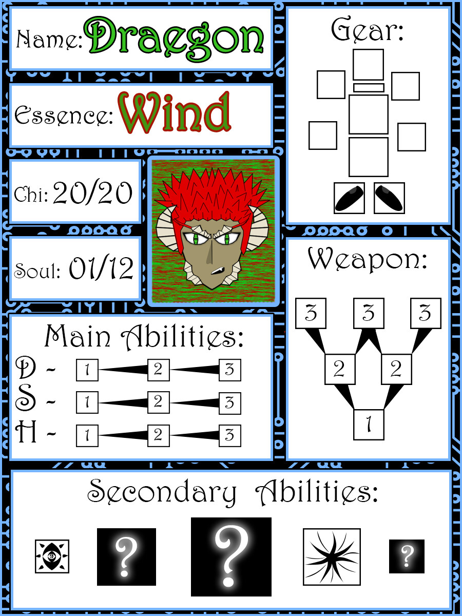 Example of a used character card for Draegon