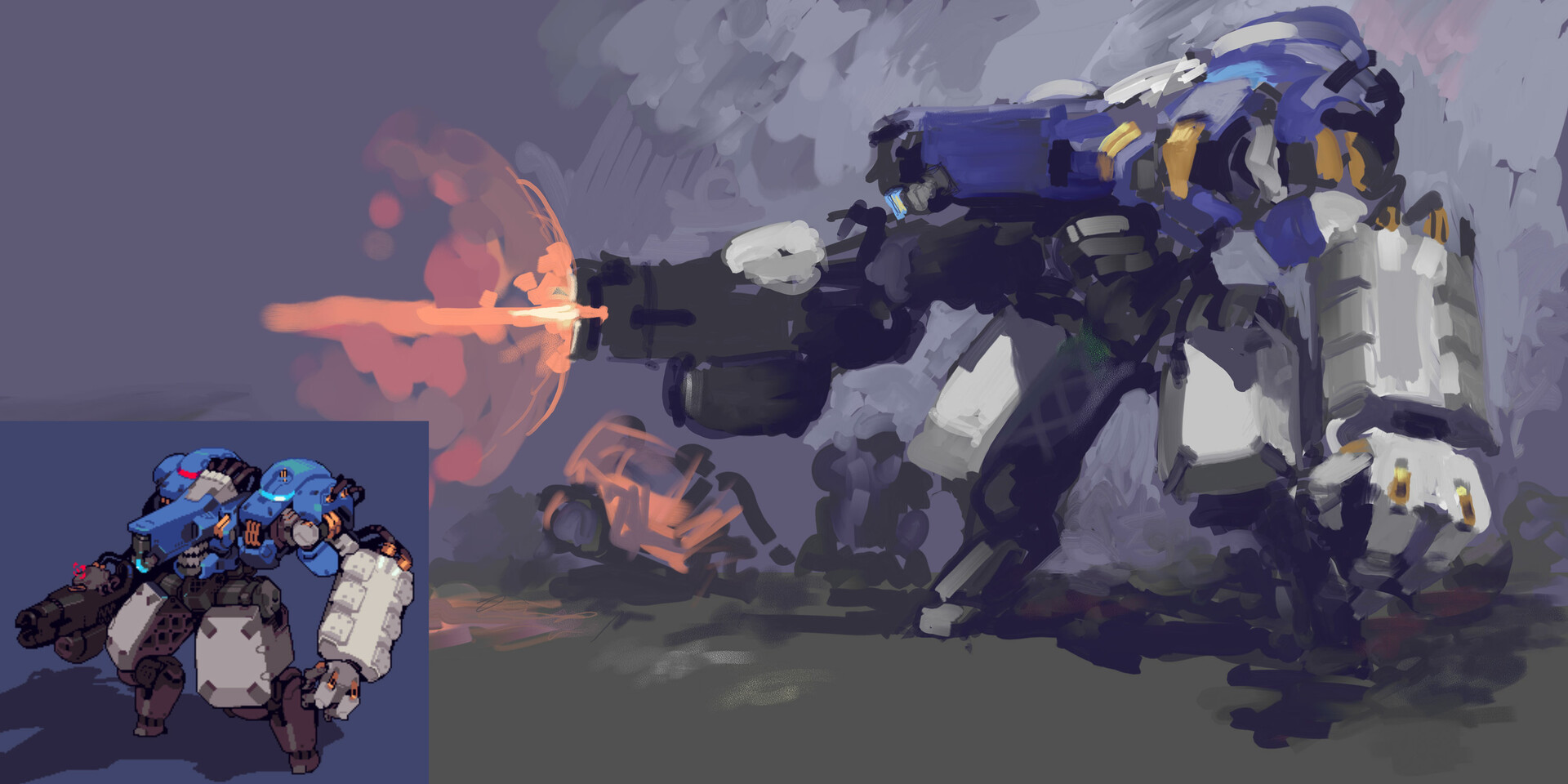 The superb pixel artist MimicMango on Twitter was curious what one of his mech designs would look like interpreted by me, so I did this painterly sketch.