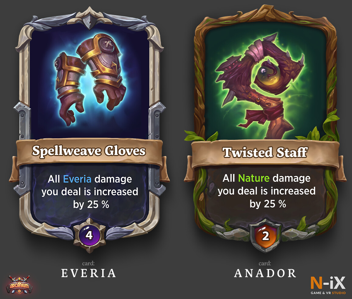 Example of artifact cards' artworks divided by its province