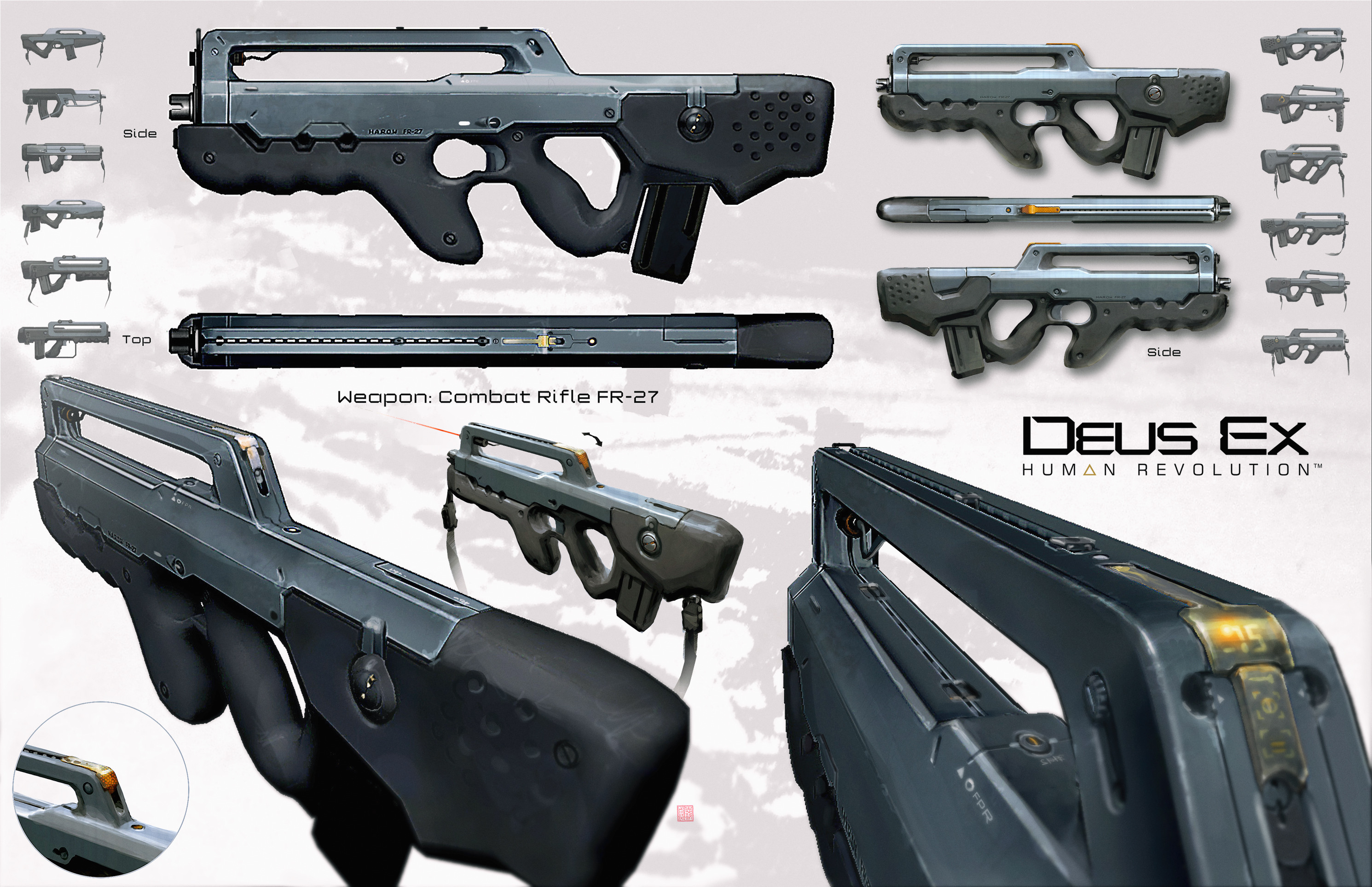 Early version of Adam Jensen's Riffle, which was used as a starting base, They increased the number of details and improved its overall final design though.