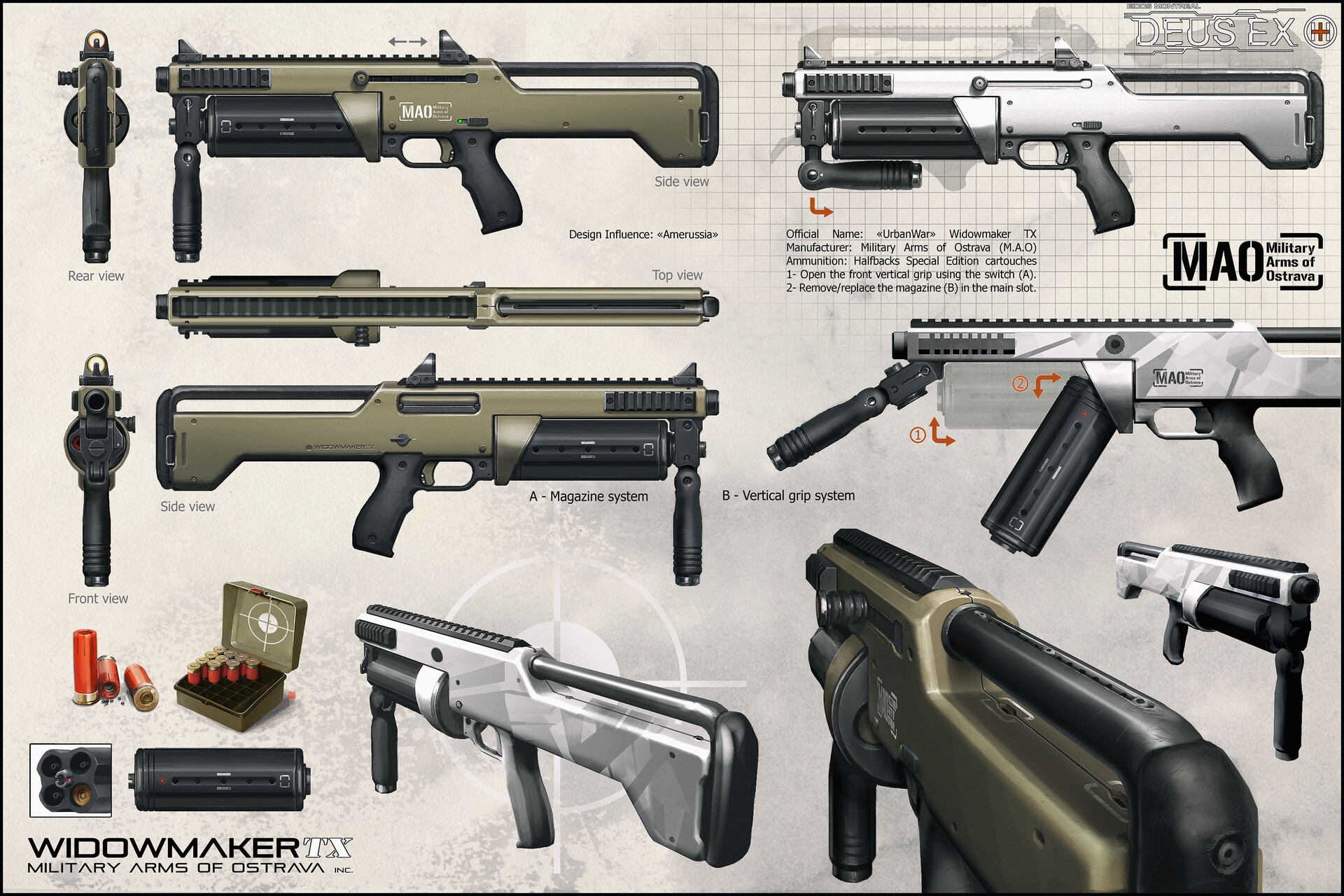 The Shotgun, with an Eastern European influenced, very simple and efficient weapon..