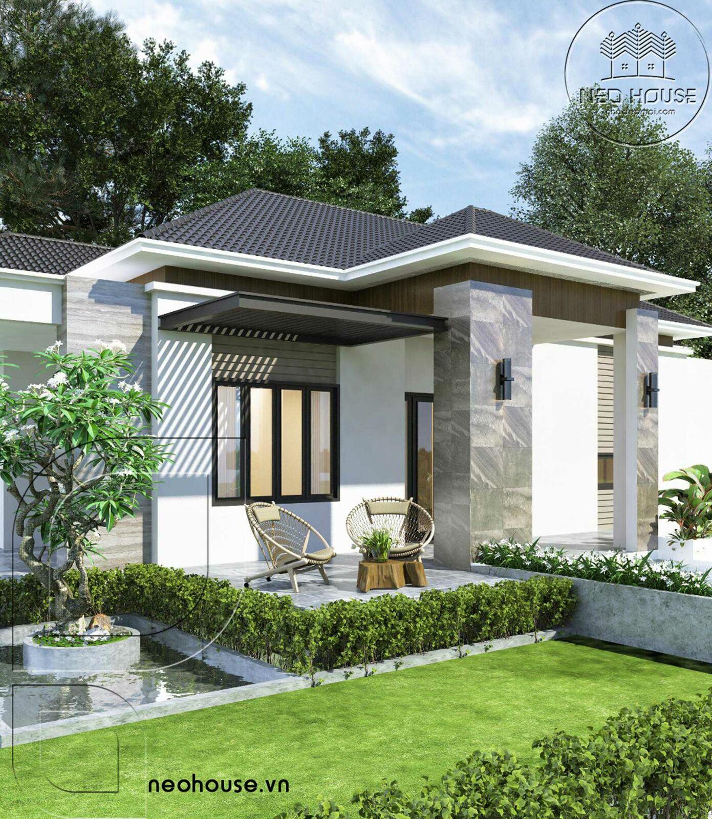Thiết kế biệt thự vườn 1 tầng. Ảnh 4