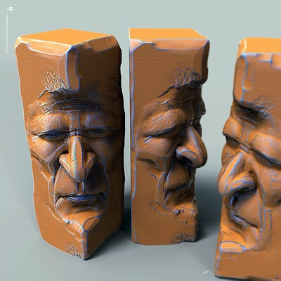 Surajit sen face blocks digital sculpture surajitsen march2020 a