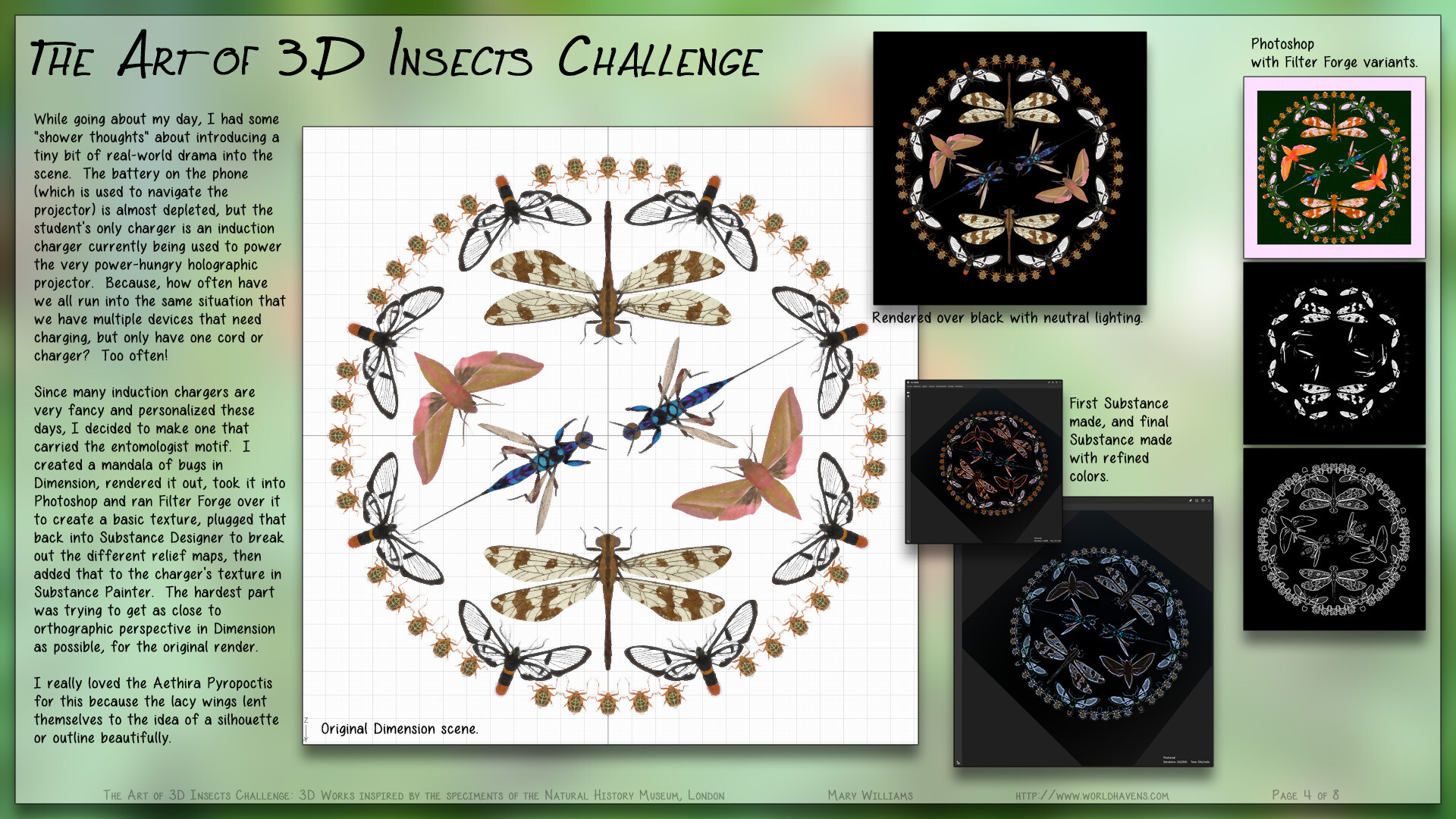 Creating the insect mandala motif for the charger and textbook.