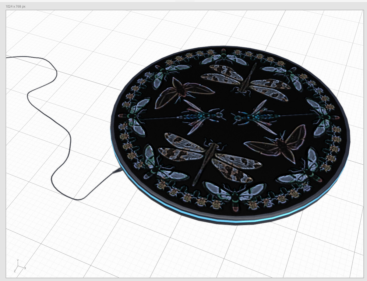 The induction charger with a mandala design.