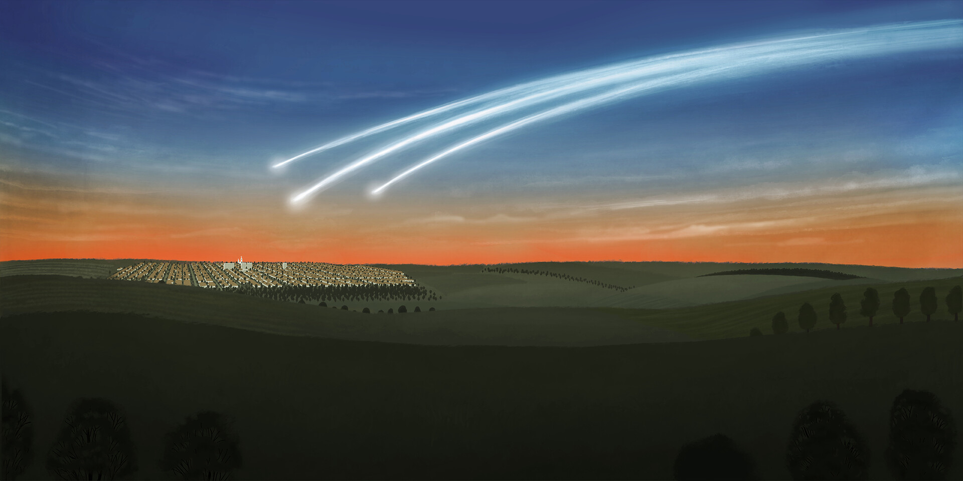 Part 5 - Meteor crossing the sky of Marilia - SP, breaking into 3 smaller pieces, before reaching the ground of the city, in the late afternoon of October 5, 1971.