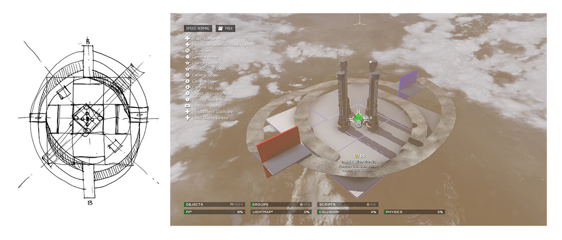 Original conceptual sketch & preliminary baseline on Forge